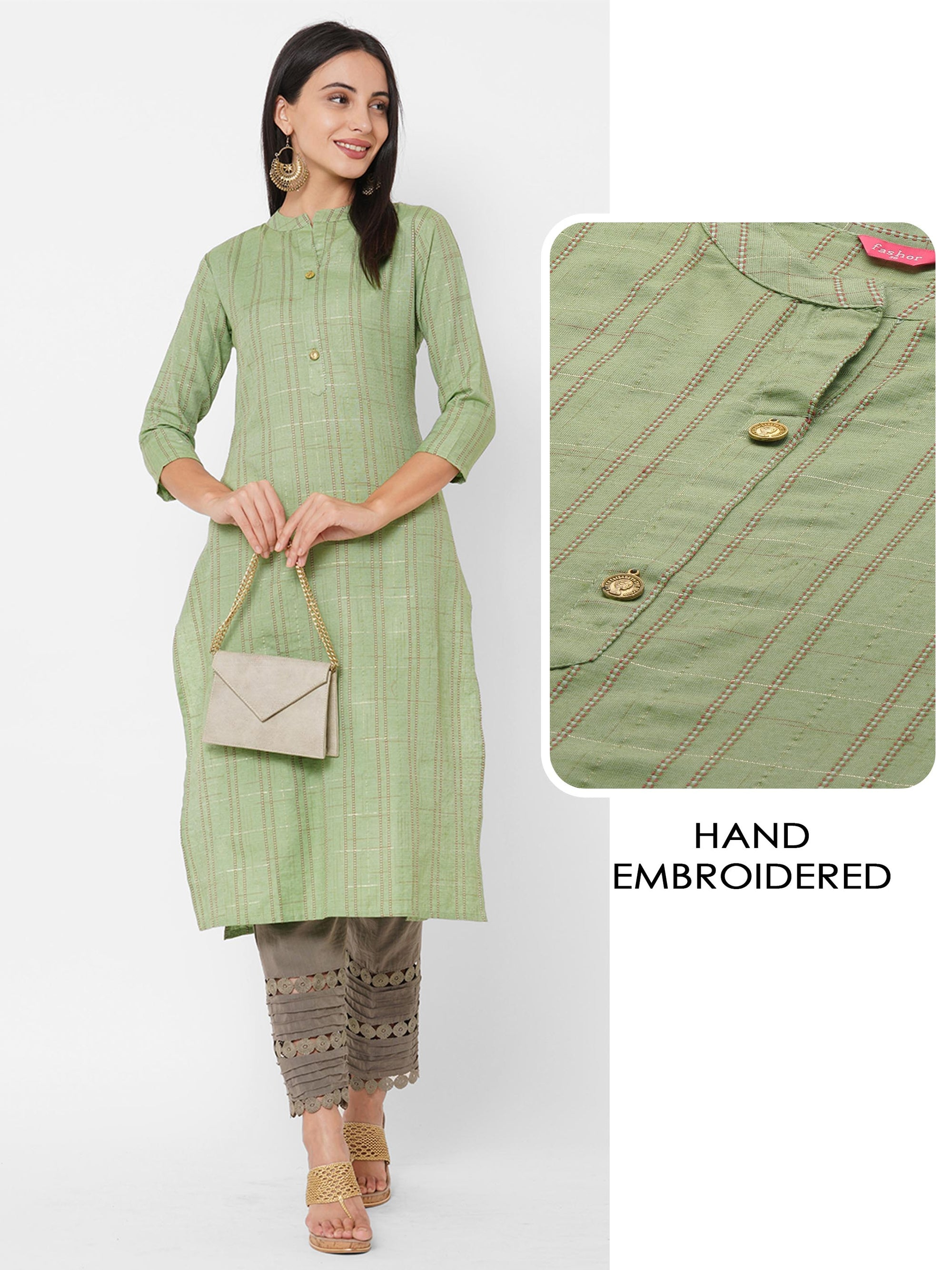 Kantha Hand Embroidered & Lurex Woven Straight Kurta– Highland Green