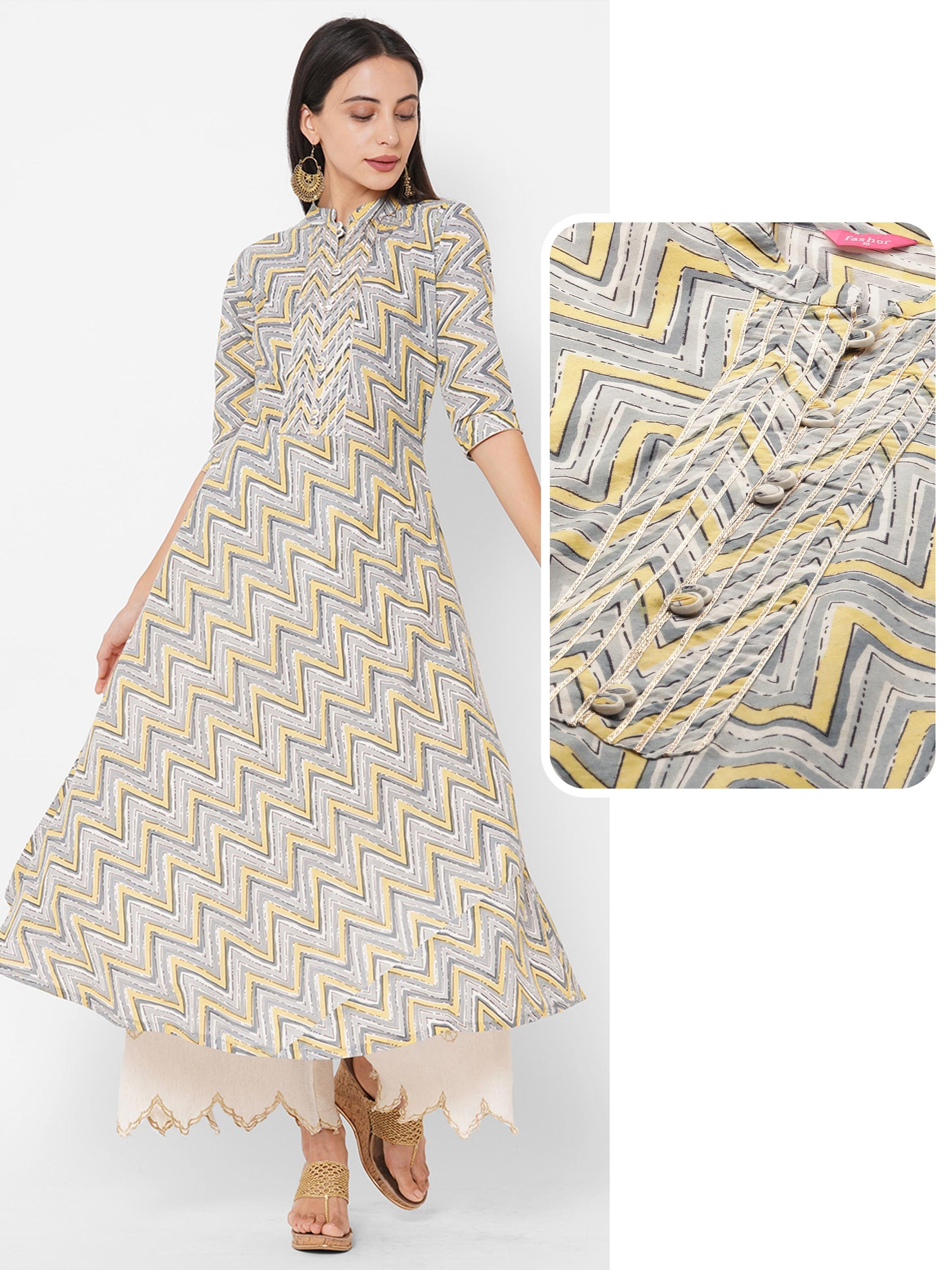 Chevron Printed & Gota Embroidered A-Line Kurta – Multi