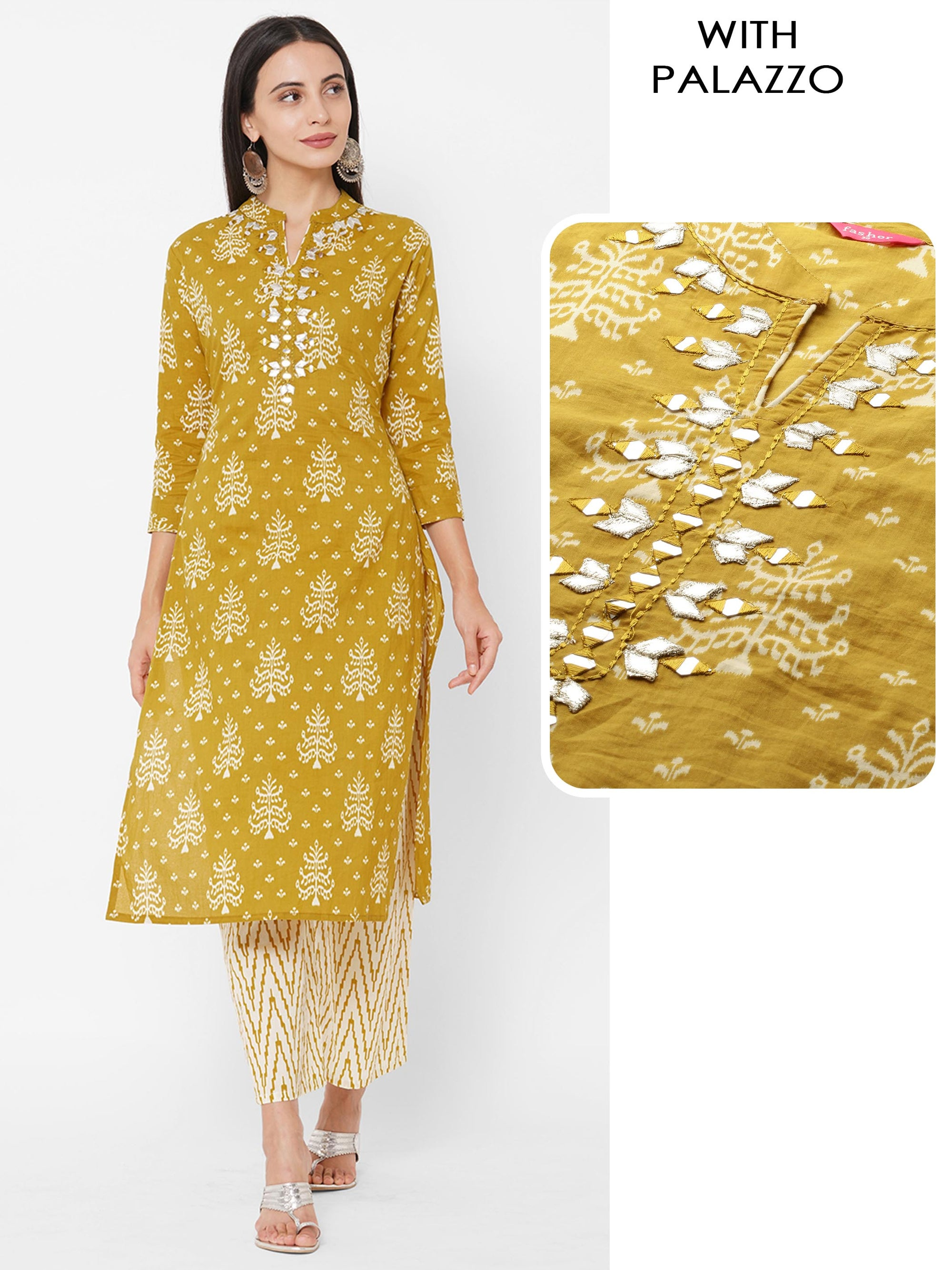 Ikat Printed & Embroidered Straight Kurta with Ikat Printed Palazzo – Golden Brown