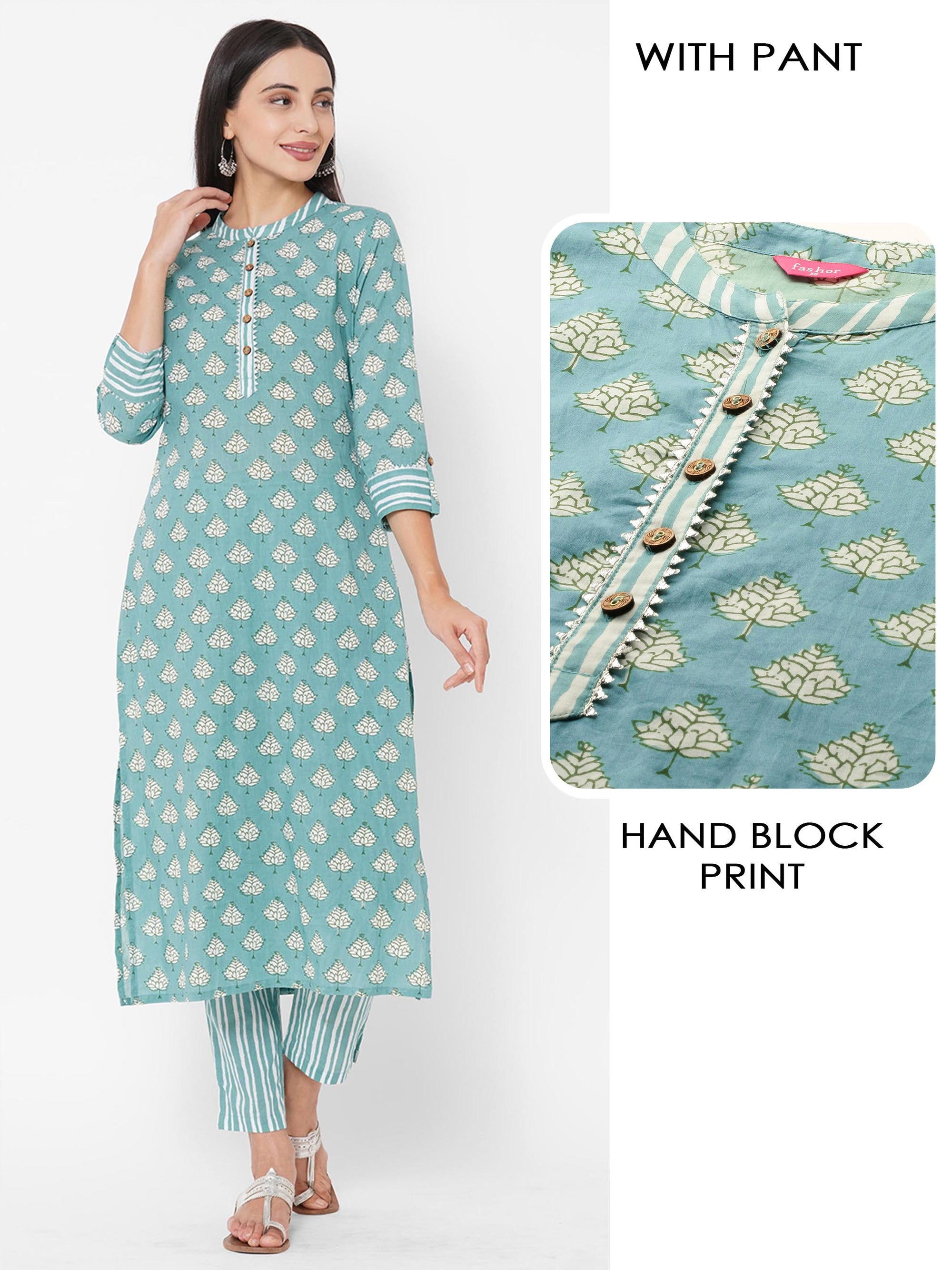 Floral Block Printed Straight Kurta with Striped Printed Pants – Dark Cyan