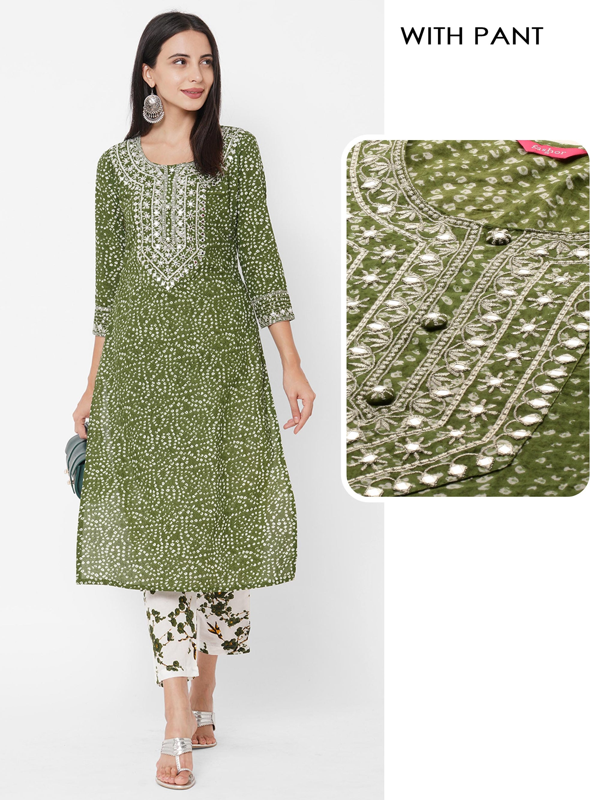 Bandhani Printed & Zari Embroidered Kurta with Floral Printed Pant - Green