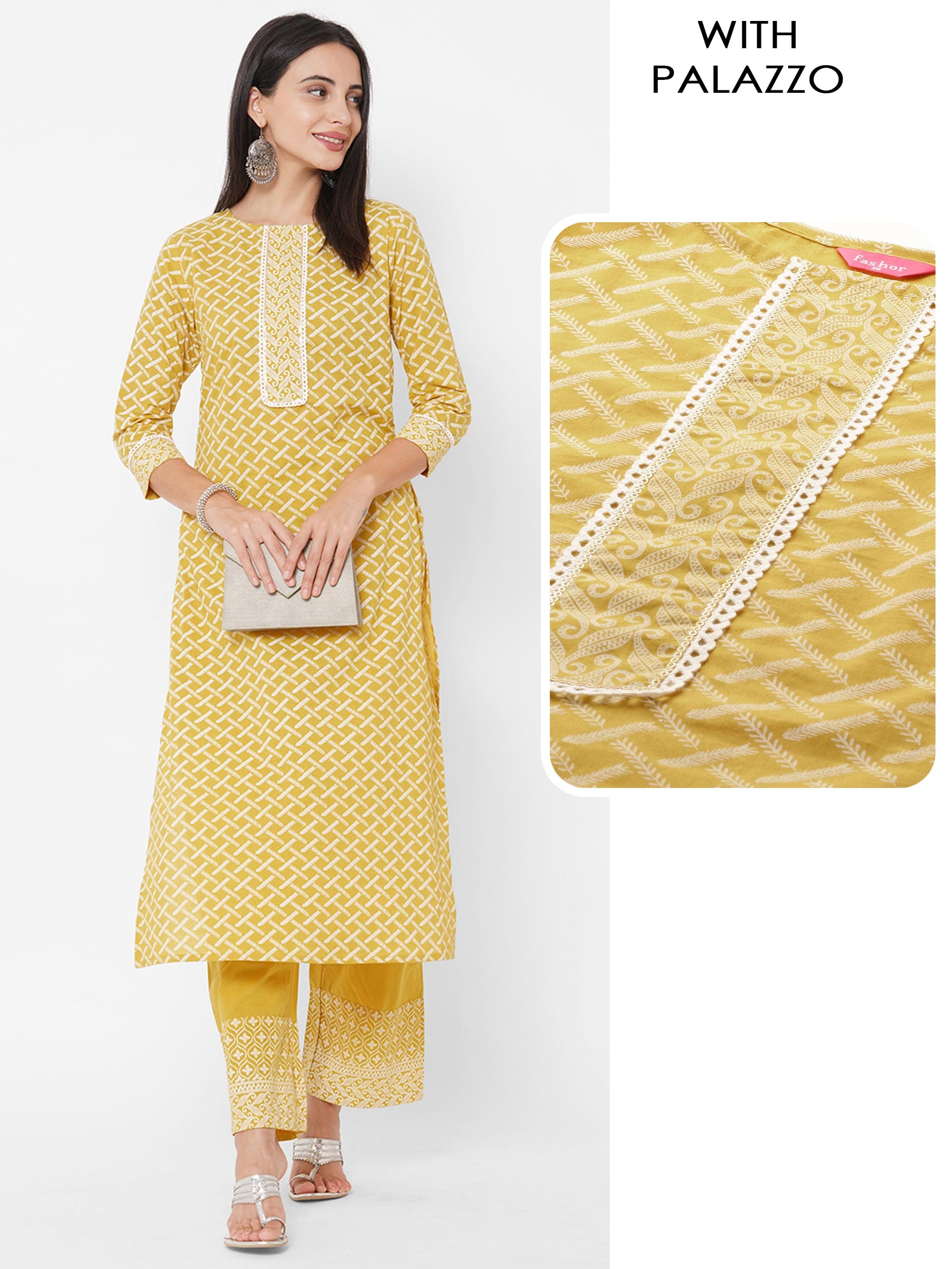 Tribal Khari Printed Straight Kurta with Ethnic Khari Printed Palazzo – Buddha Gold