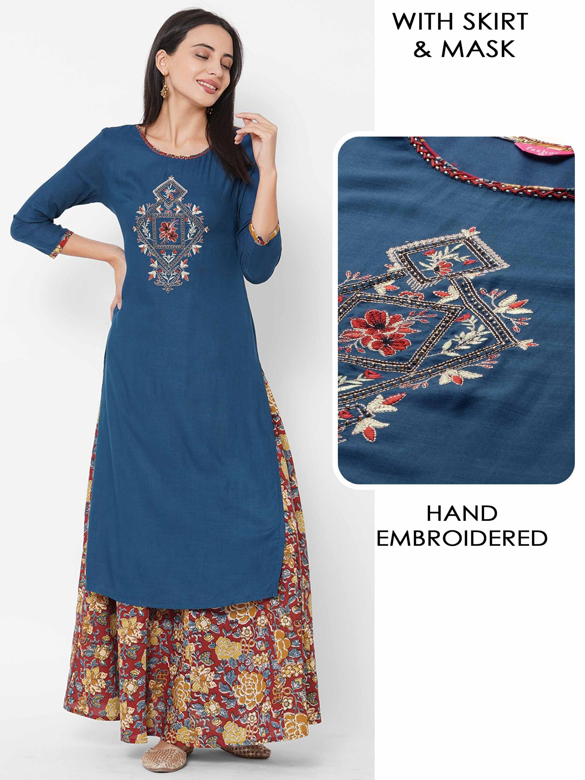 Ethnic Embroidered Kurta with Floral Jaal Printed Skirt & 2-Ply Mask – Persian Blue