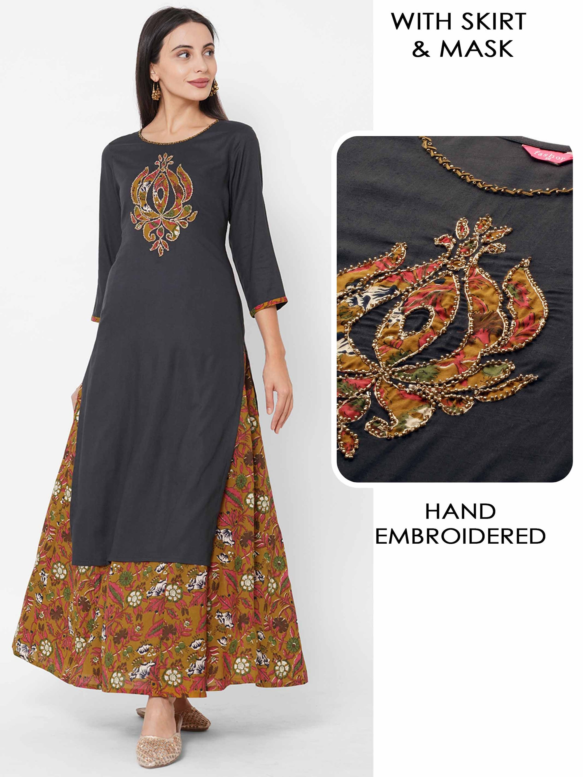 Applique Embroidered Kurta with Floral Jaal Printed Skirt & 2-Ply Mask – Dark Grey