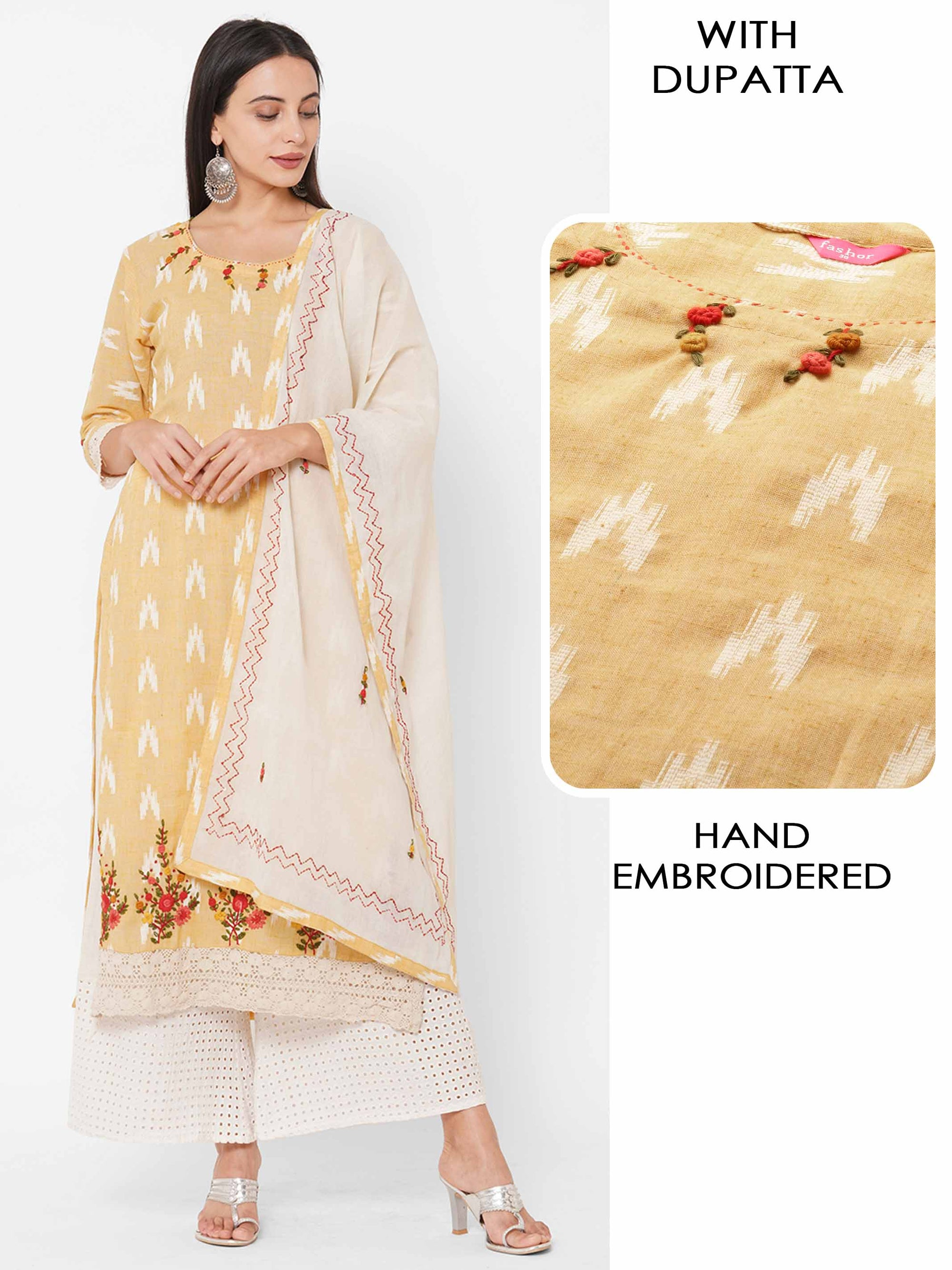 Ikat Woven & Floral Hand Embroidered Kurta with Hand Embroidered Dupatta - Winter Hazel