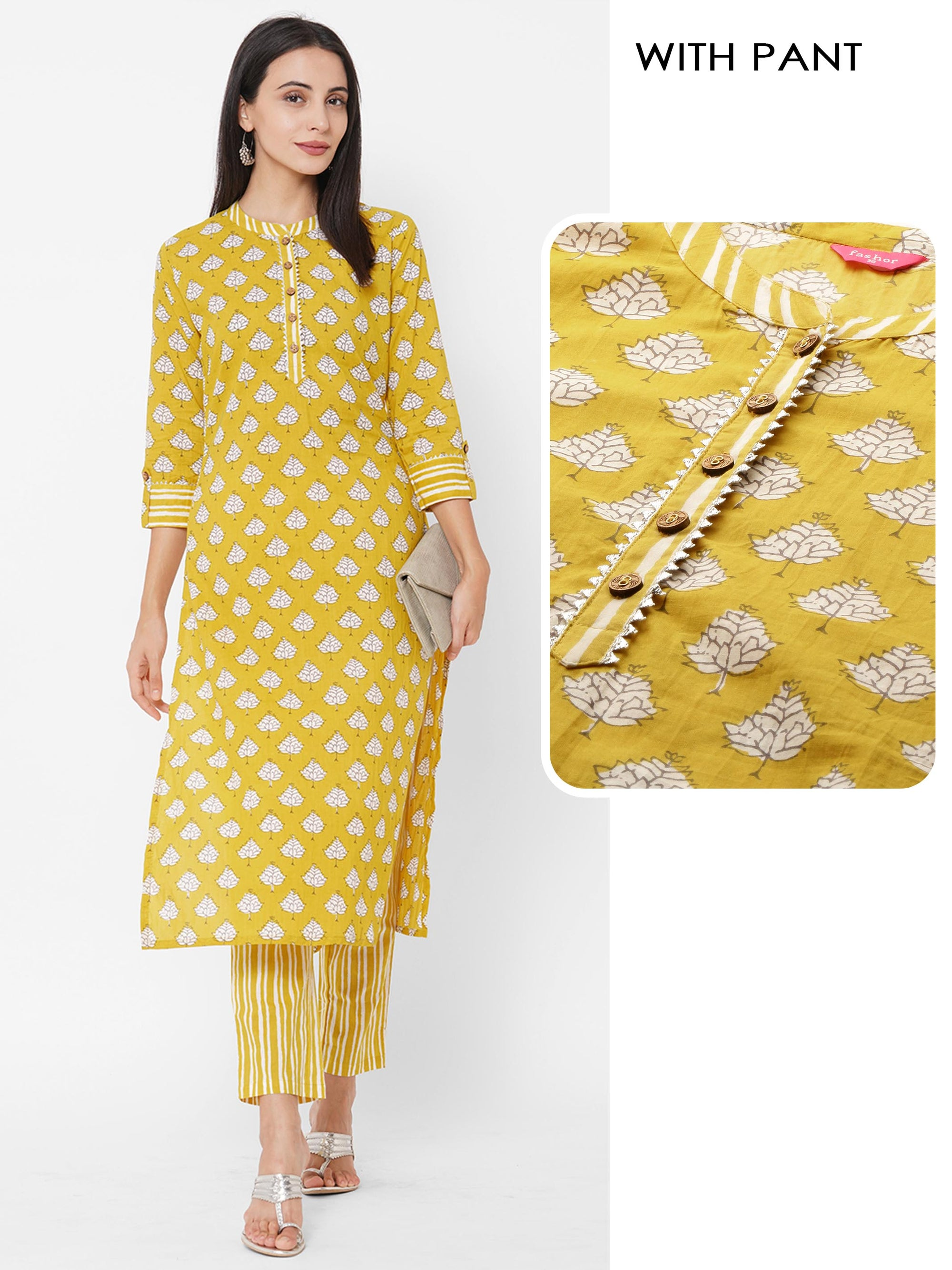 Floral Block Printed Straight Kurta with Striped Printed Pants – Bright Yellow