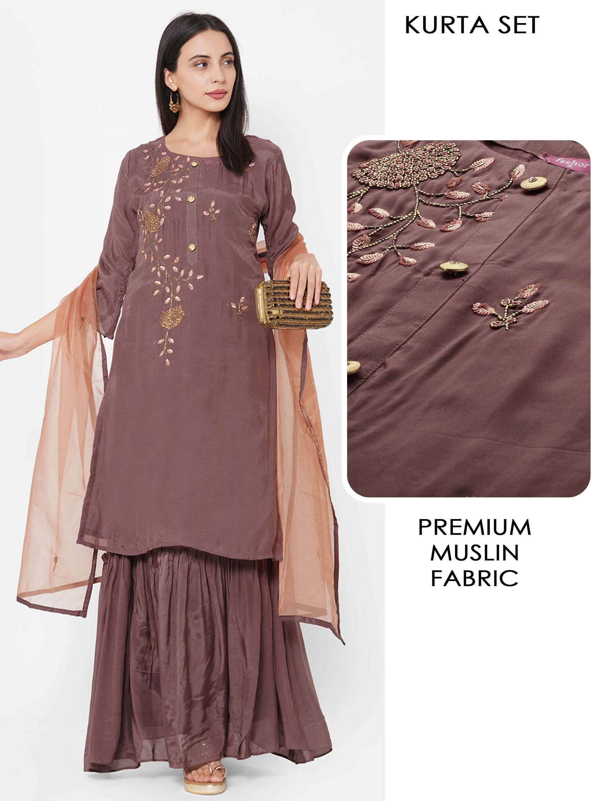 Floral Hand Embroidered Kurta with Solid Skirt & Dupatta & 2-Ply Mask - Brown