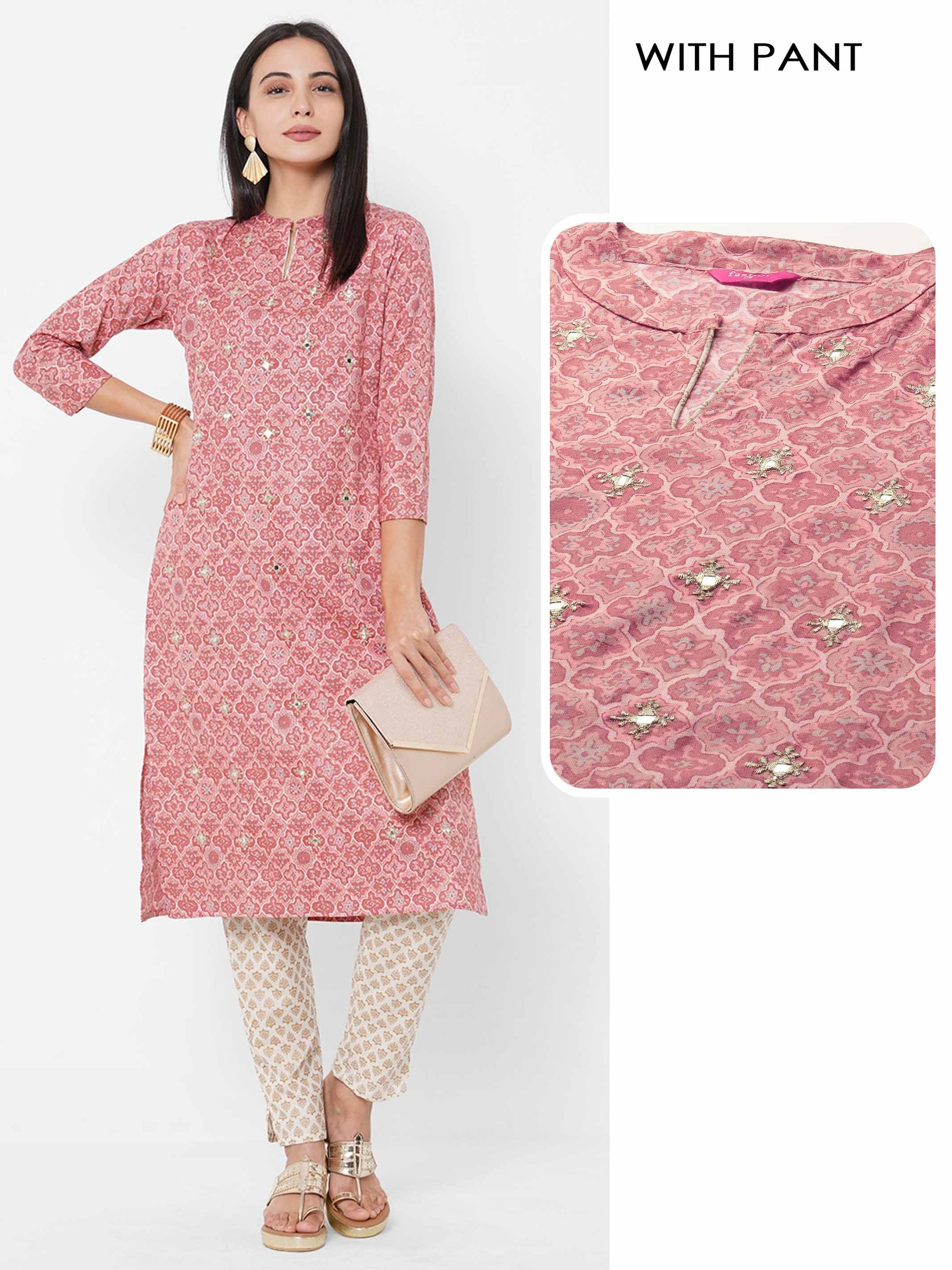 Quatrefoil Printed & Embroidered Straight Kurta with Ethnic Printed Pant – Pastel Pink