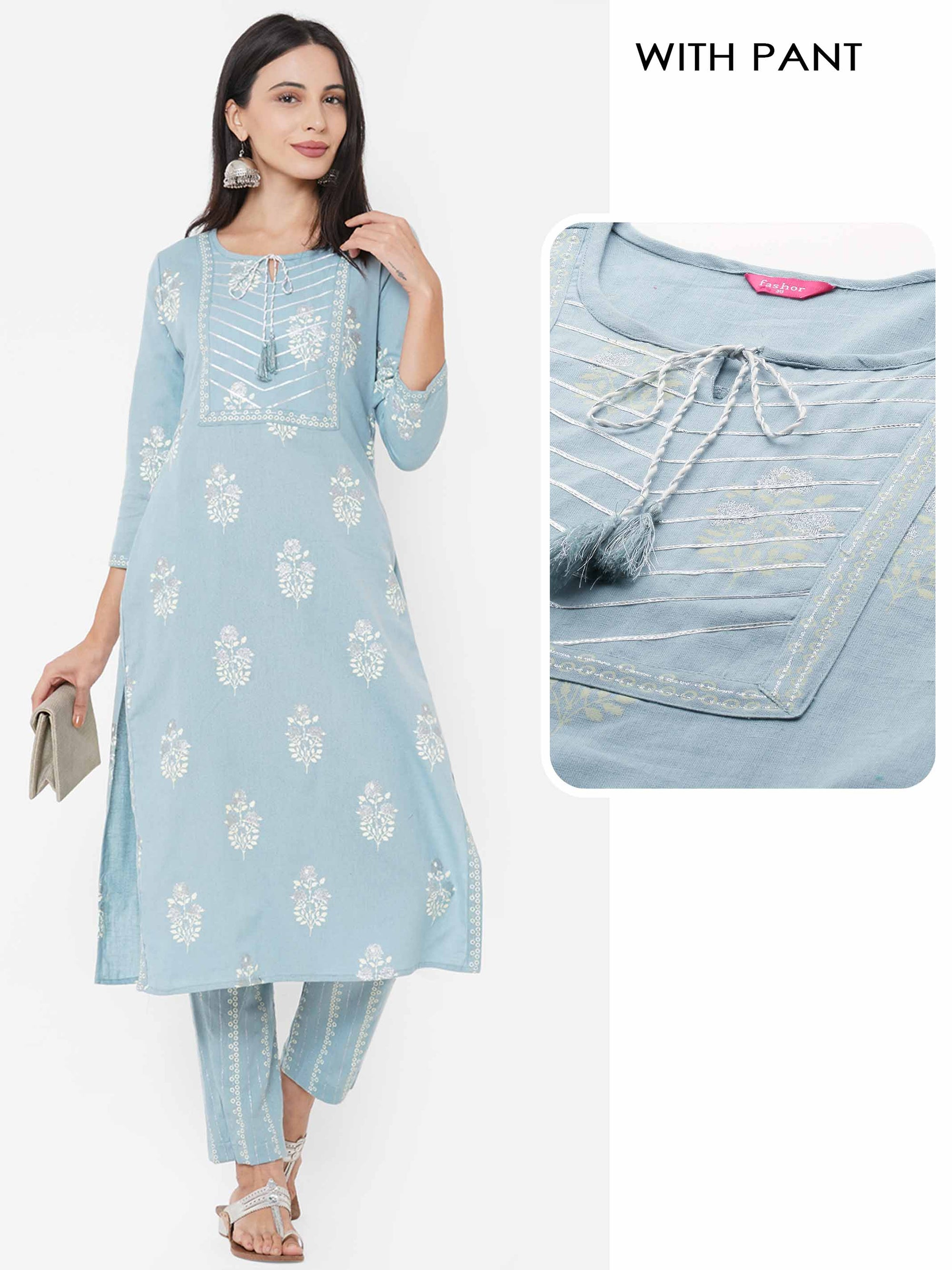 Floral Rogan Printed & Embroidered Kurta with Printed Pant - Powder Blue