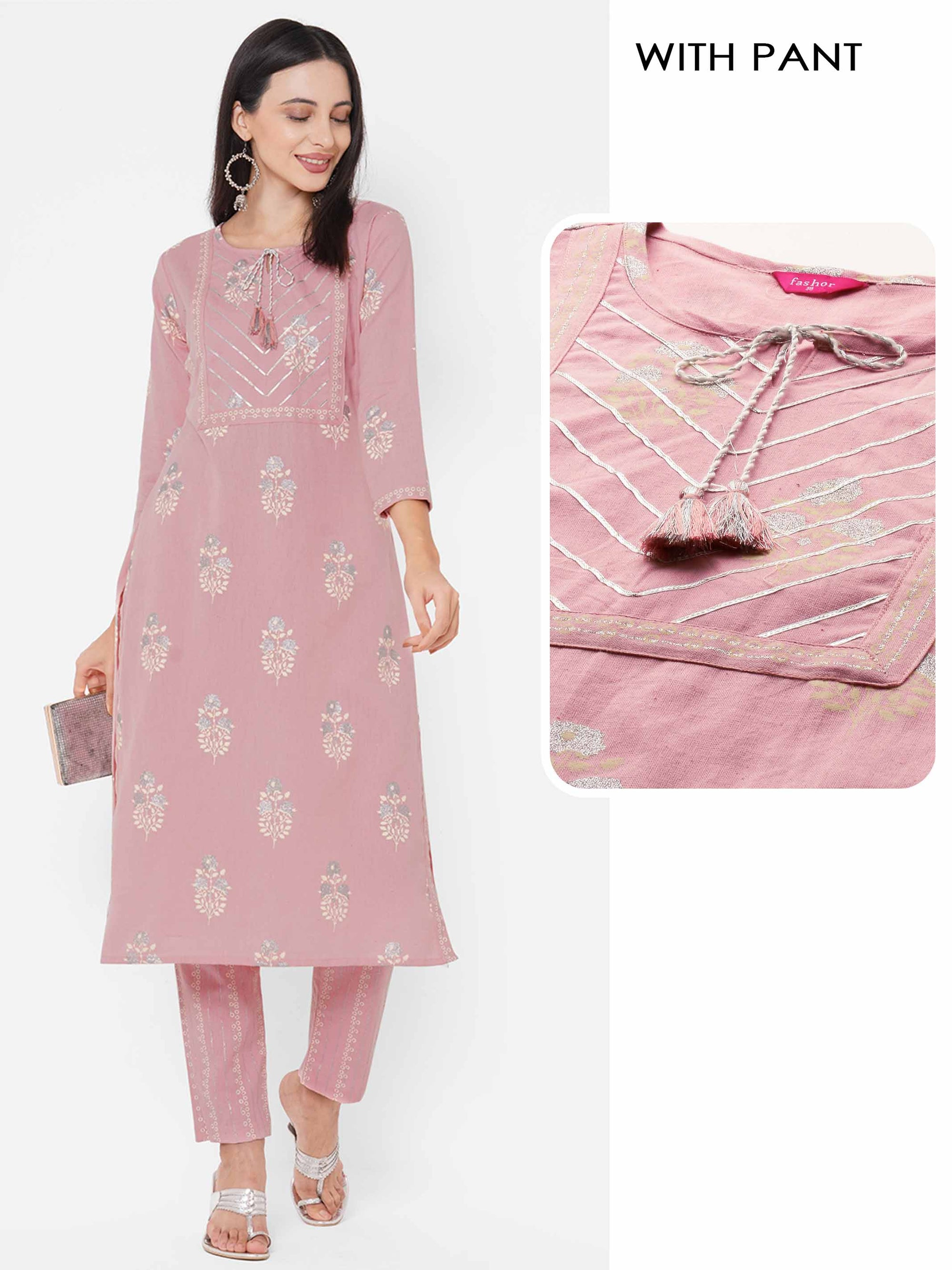 Floral Rogan Printed & Embroidered Kurta with Printed Pant - Powder Pink