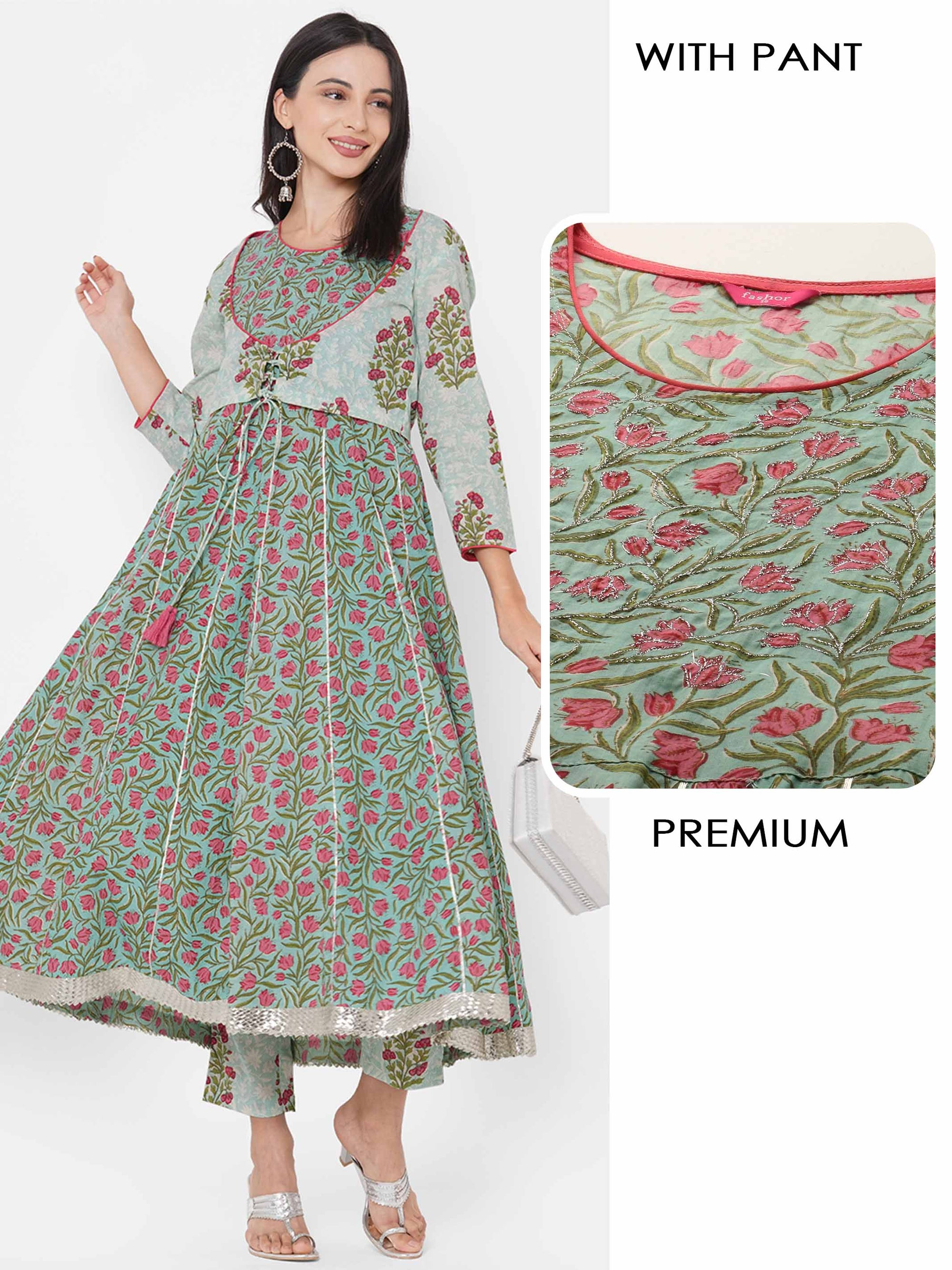 Busy Floral Printed Anarkali Kurta with Printed Jacket & Pant - Green