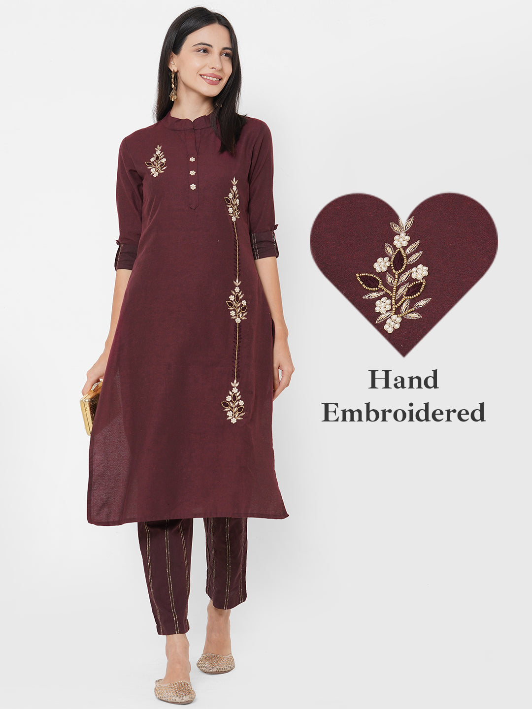 Ethnic Hand Embroidered Kurta with Woven Striped Pant - Camelot