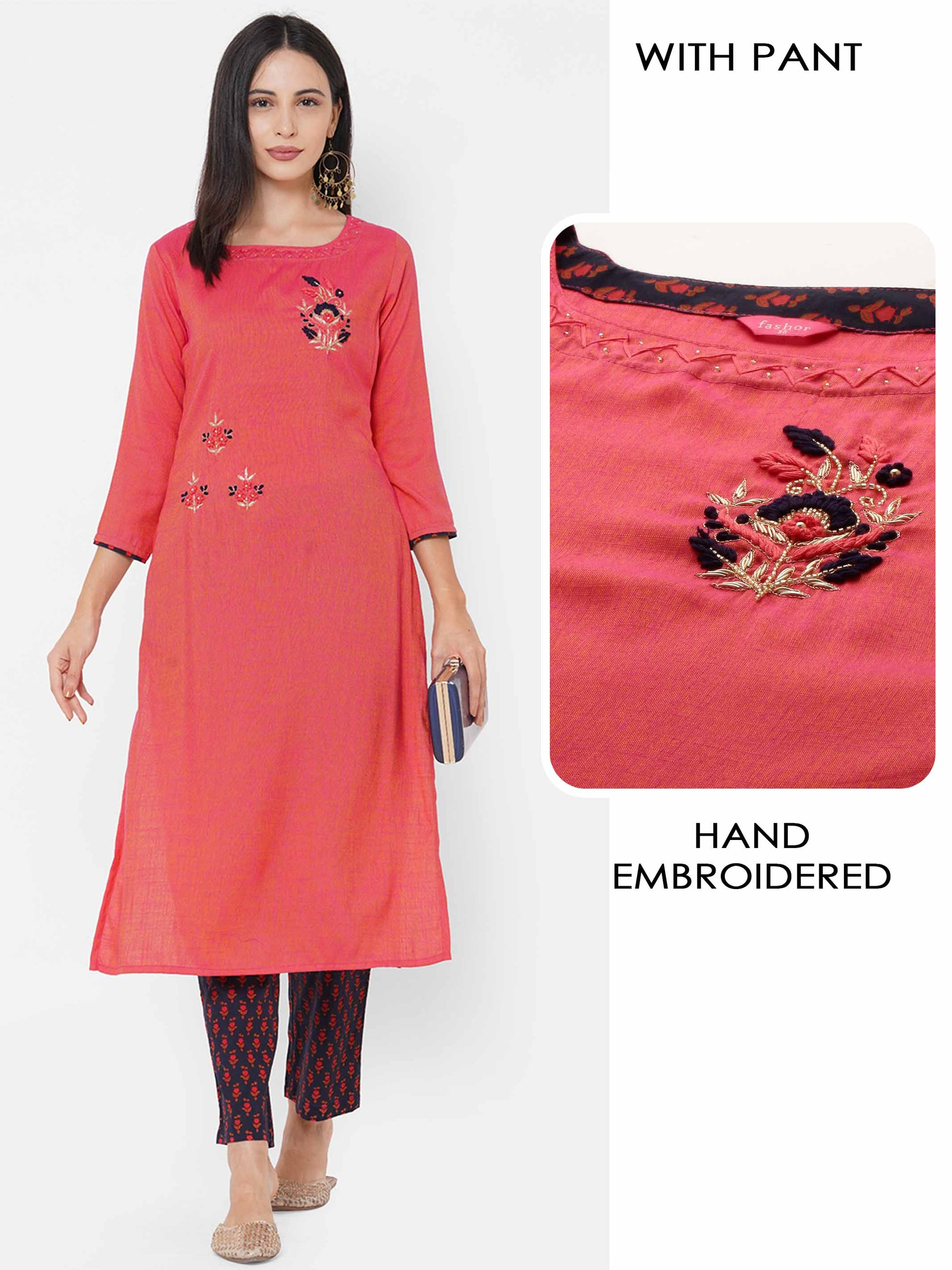 Floral Hand Embroidered Straight Kurta with Floral Dense Printed Pant – Pink