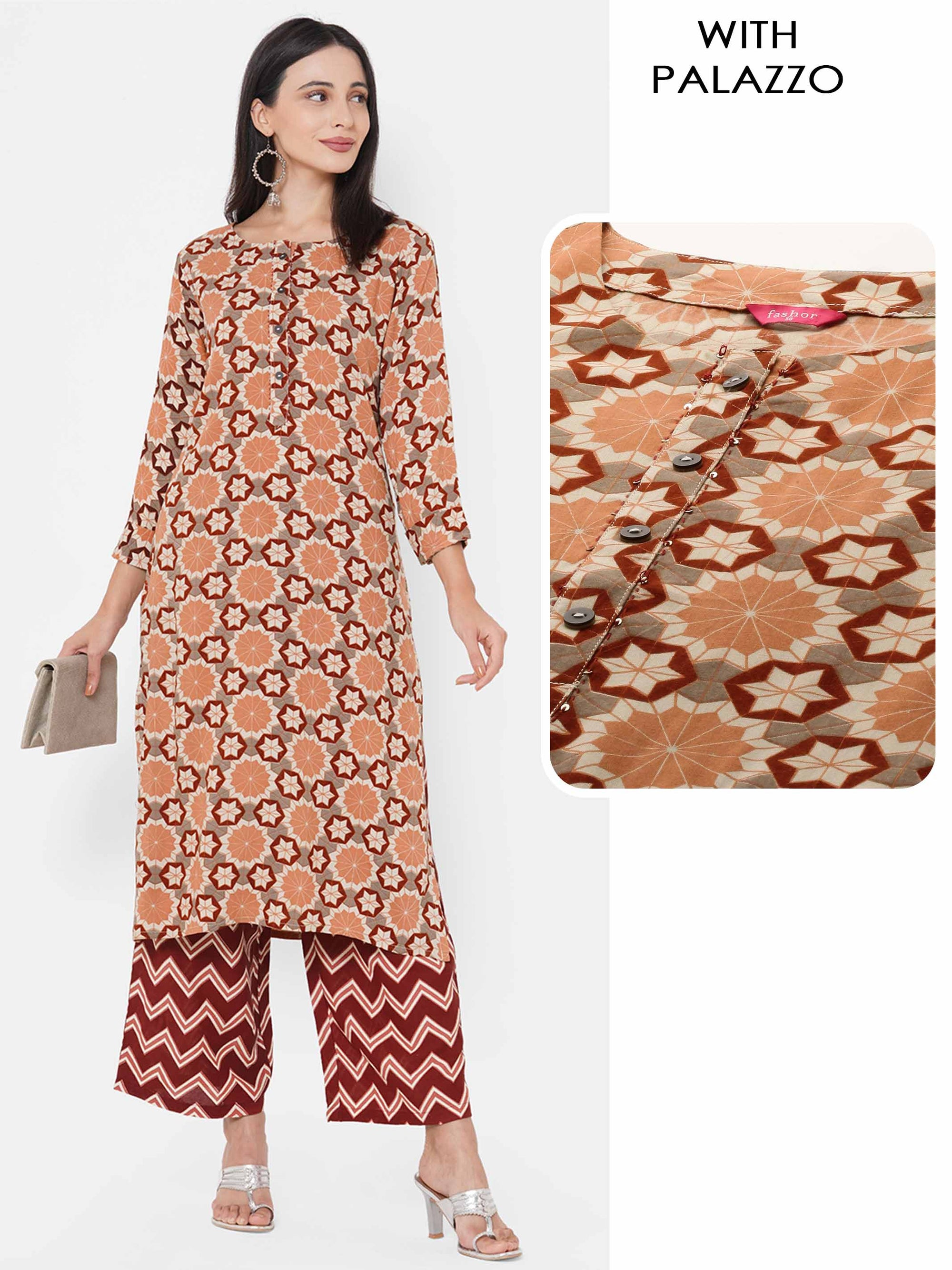 Geometrical Floral Printed Kurta with Chevron Printed Palazzo - Sepia Brown
