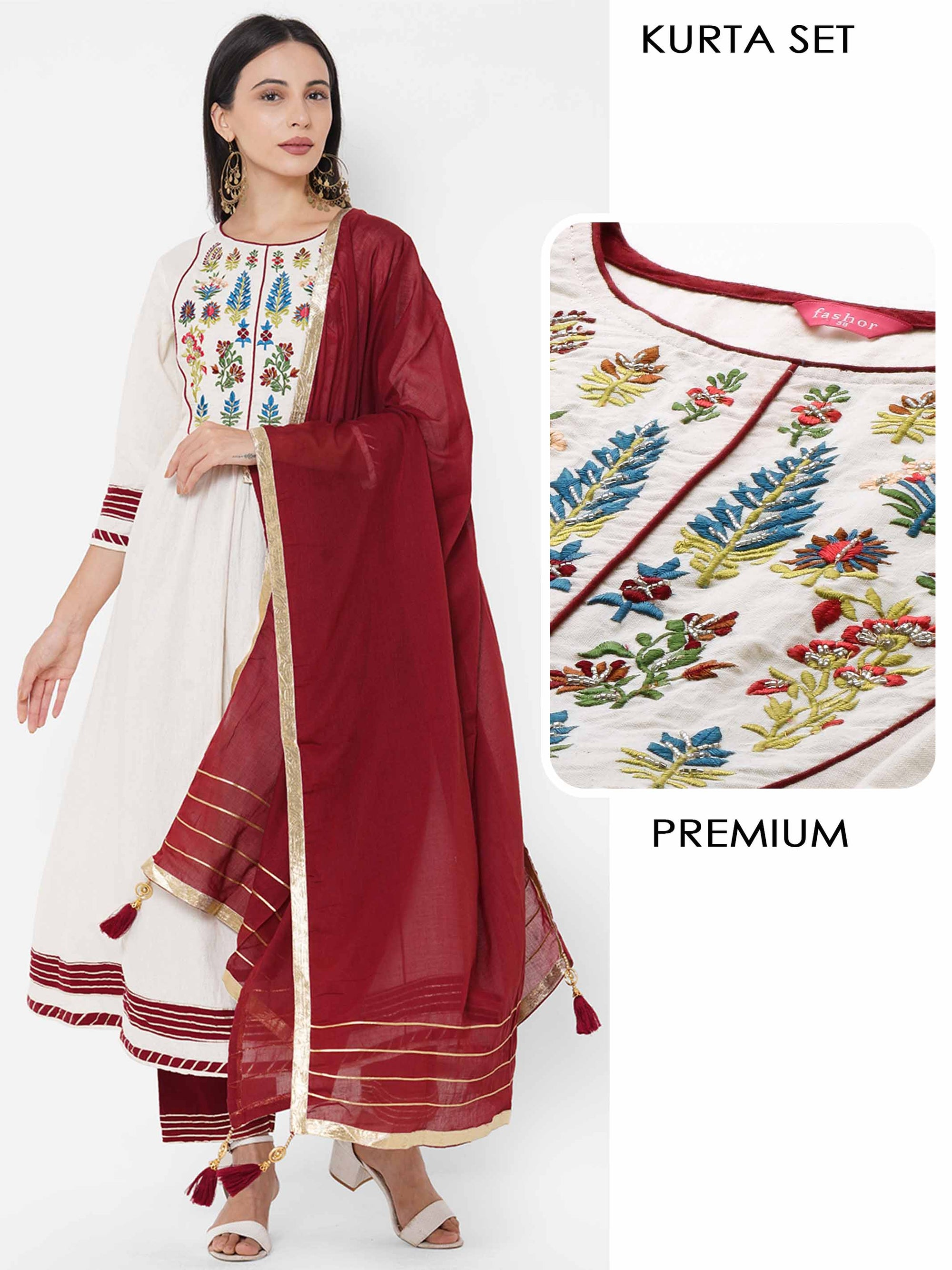 Floral & Gota Embroidered Kurta with Solid Palazzo & Solid Dupatta - Cream