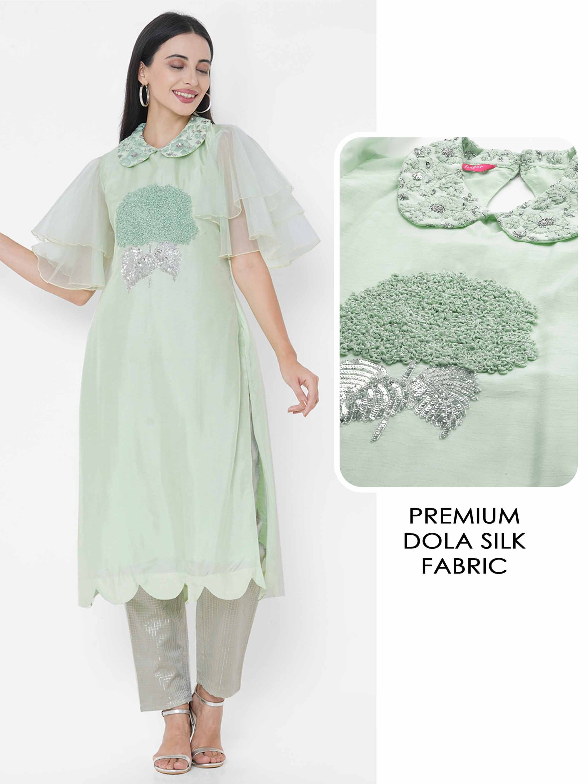 Floral Hand Embroidered Scallop Kurta - Green