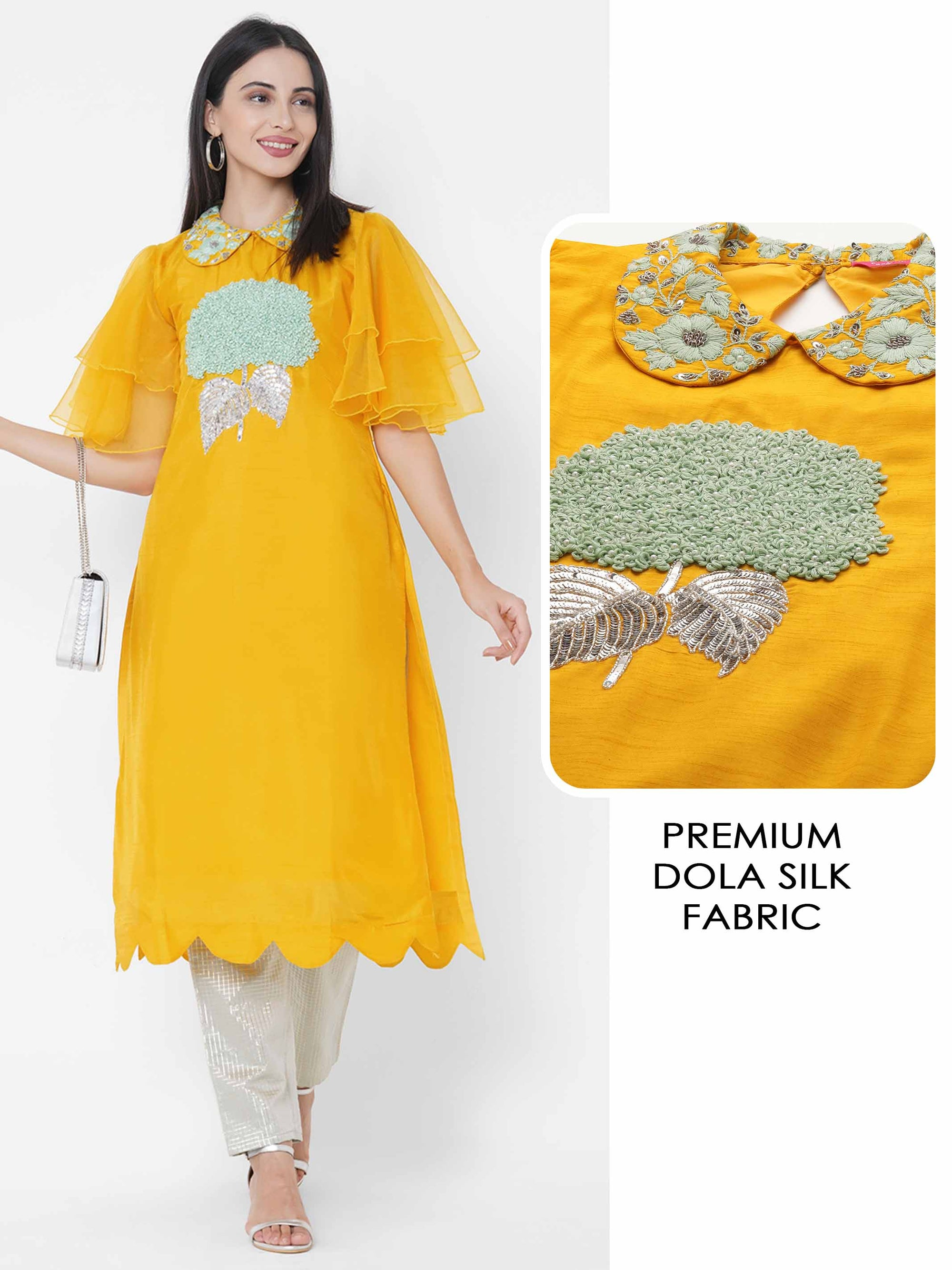 Floral Hand Embroidered Scallop Kurta - Yellow