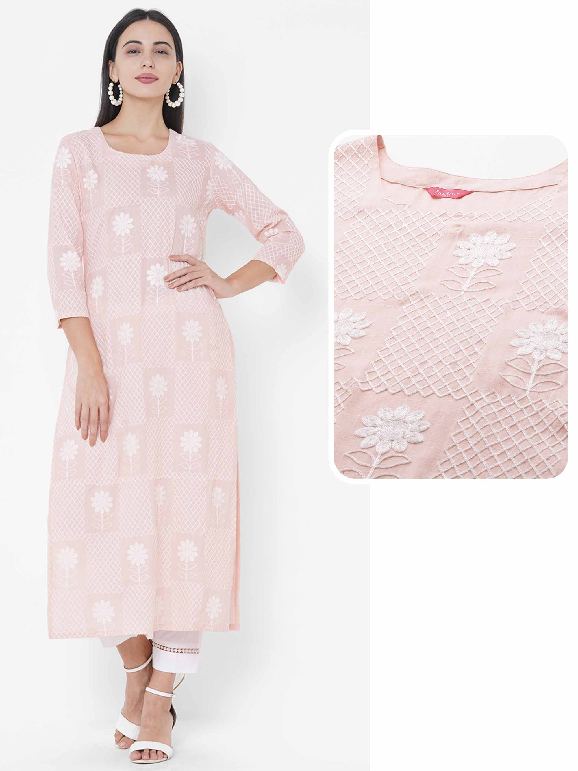 Floral & Lattice Embroidered Straight Kurta - Dawn Pink