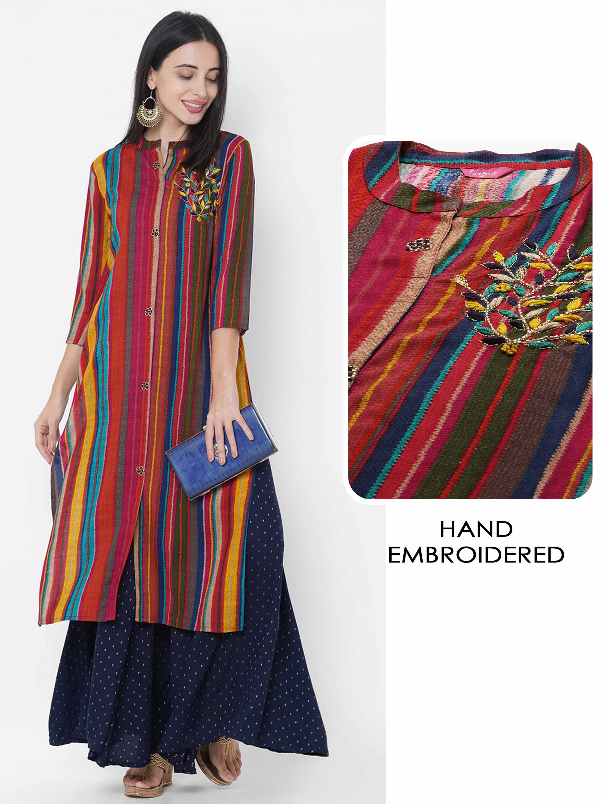 Multi Colored Printed & Hand Embroidered Straight Kurta - Multi