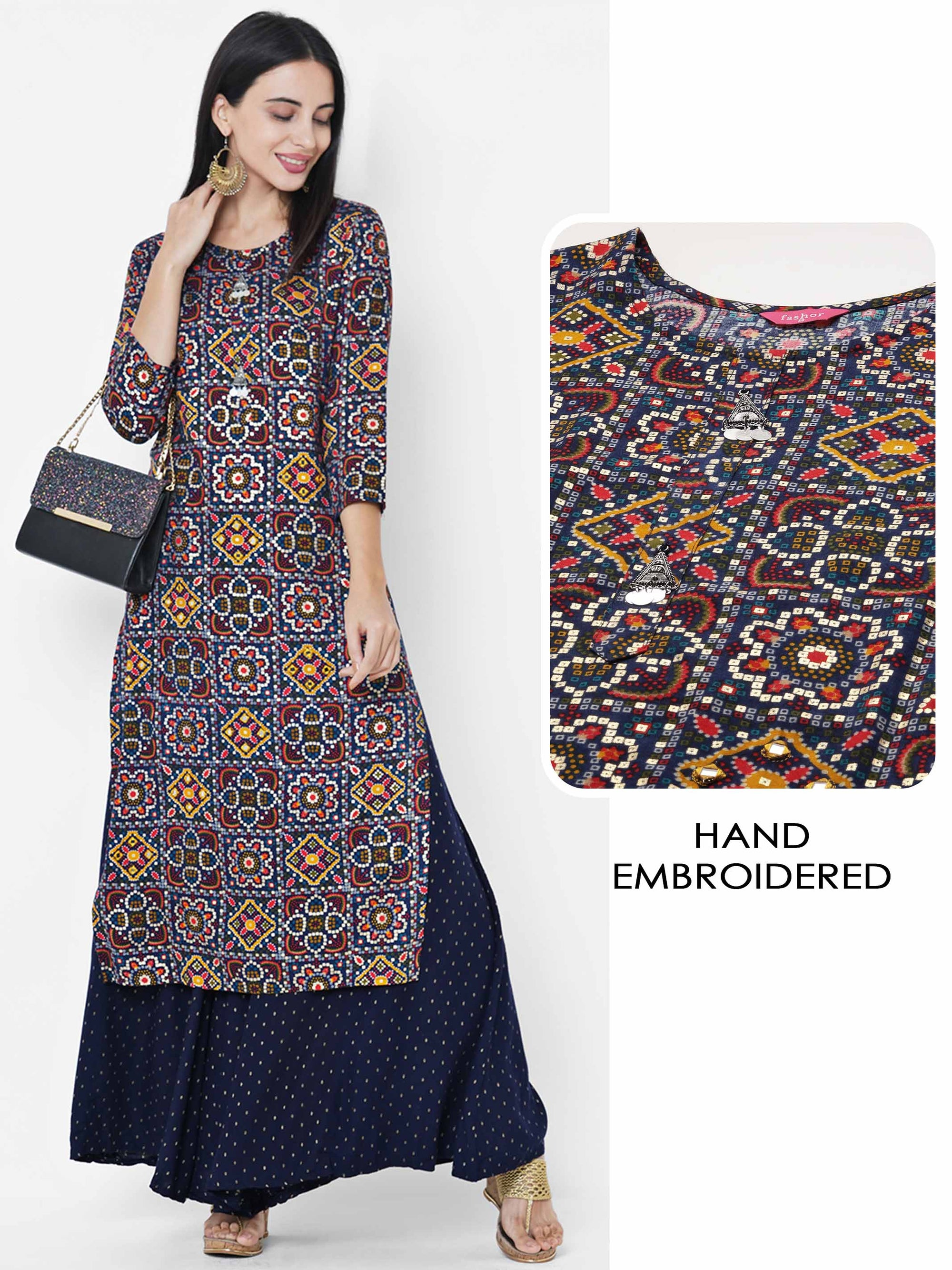 Dense Bandhani Printed & Hand Embroidered Kurta - Navy Blue