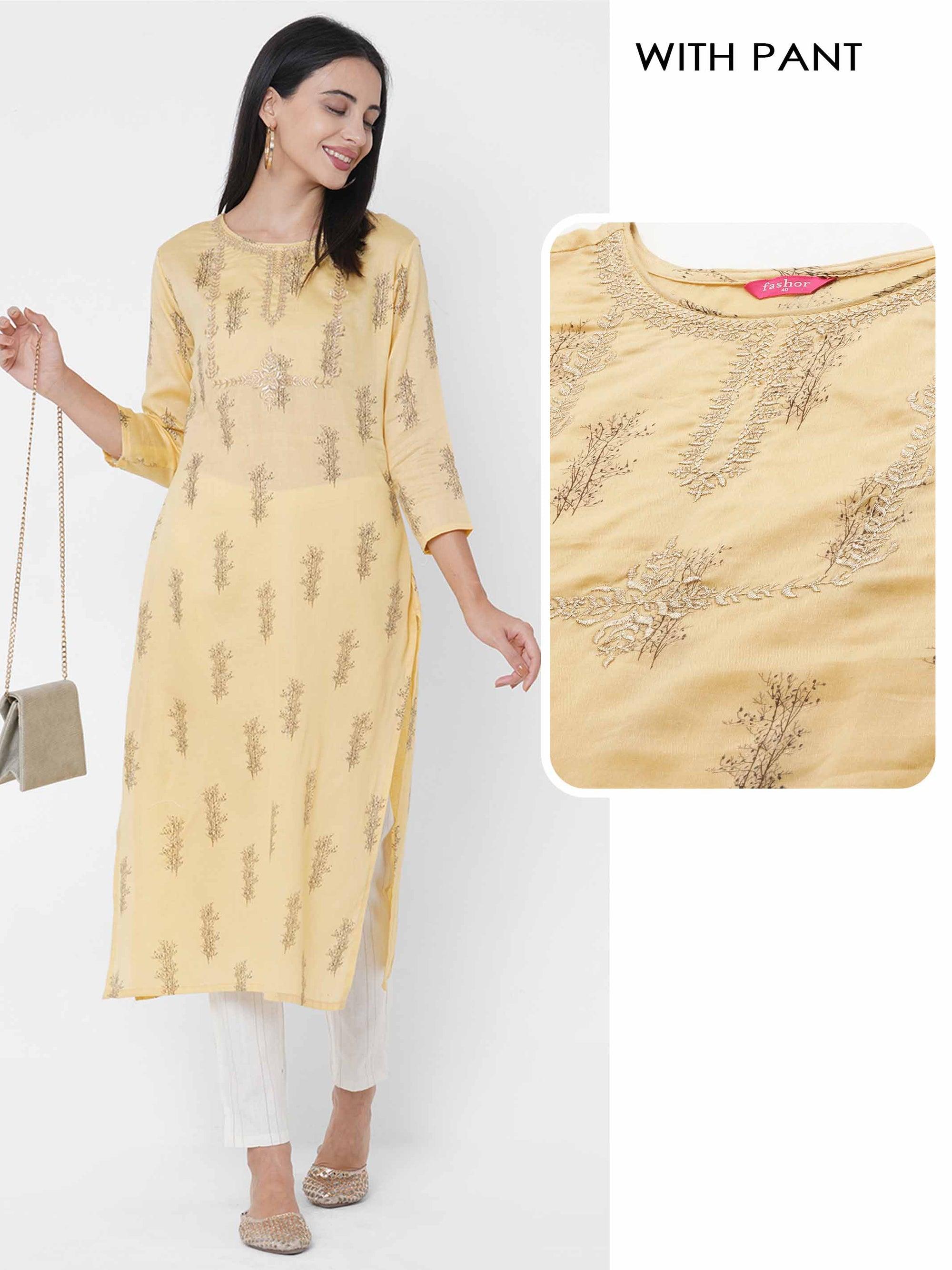 Floral Embroidered & Printed Kurta with Lurex Striped Pant - Yellow