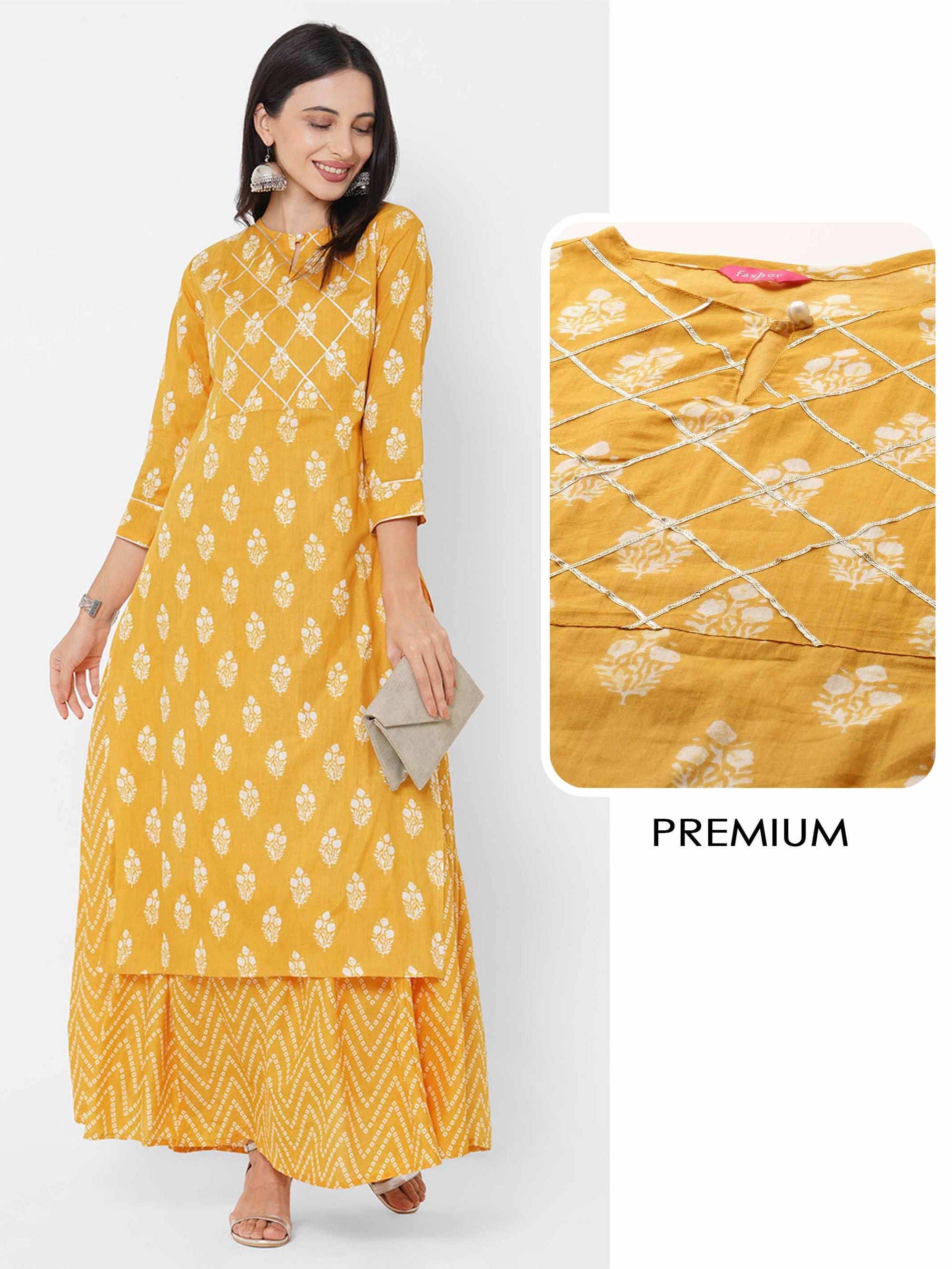 Floral Printed Kurta with Bandhani Printed Maxi Dress - Mustard