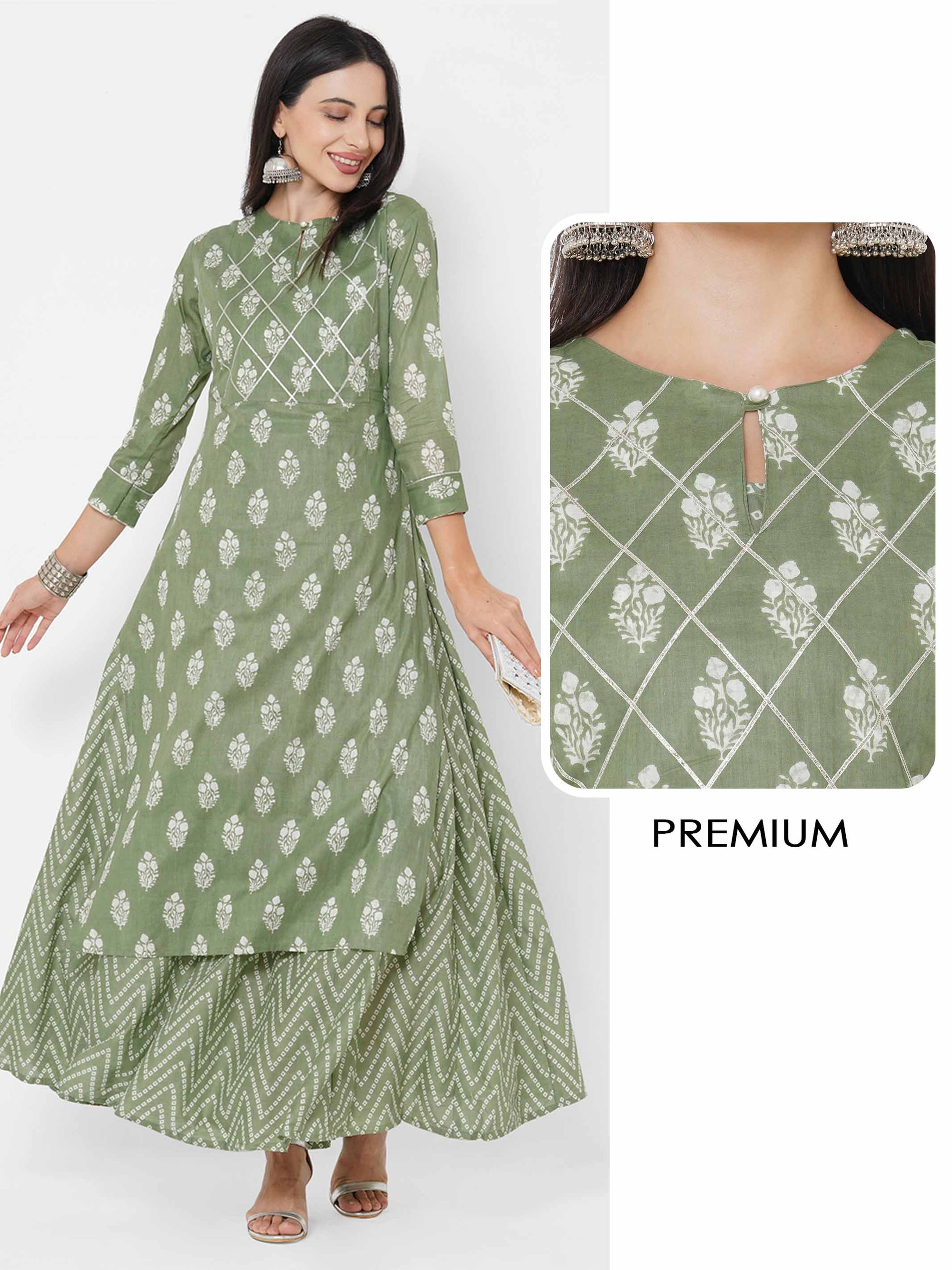 Floral Printed Kurta with Bandhani Printed Maxi Dress - Olive Green