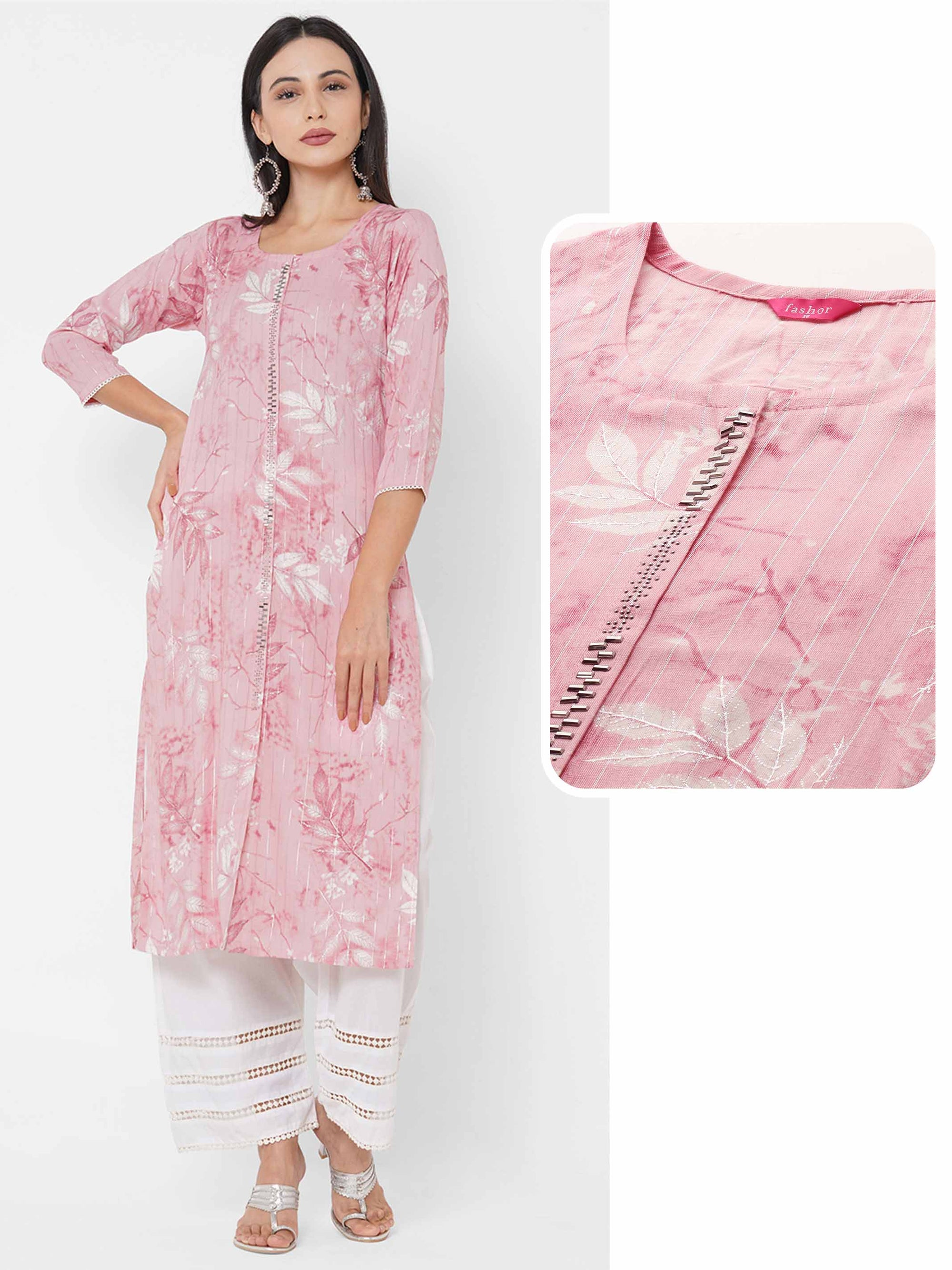 Leaf Printed & Stone Work Lurex Kurta - Powder Pink