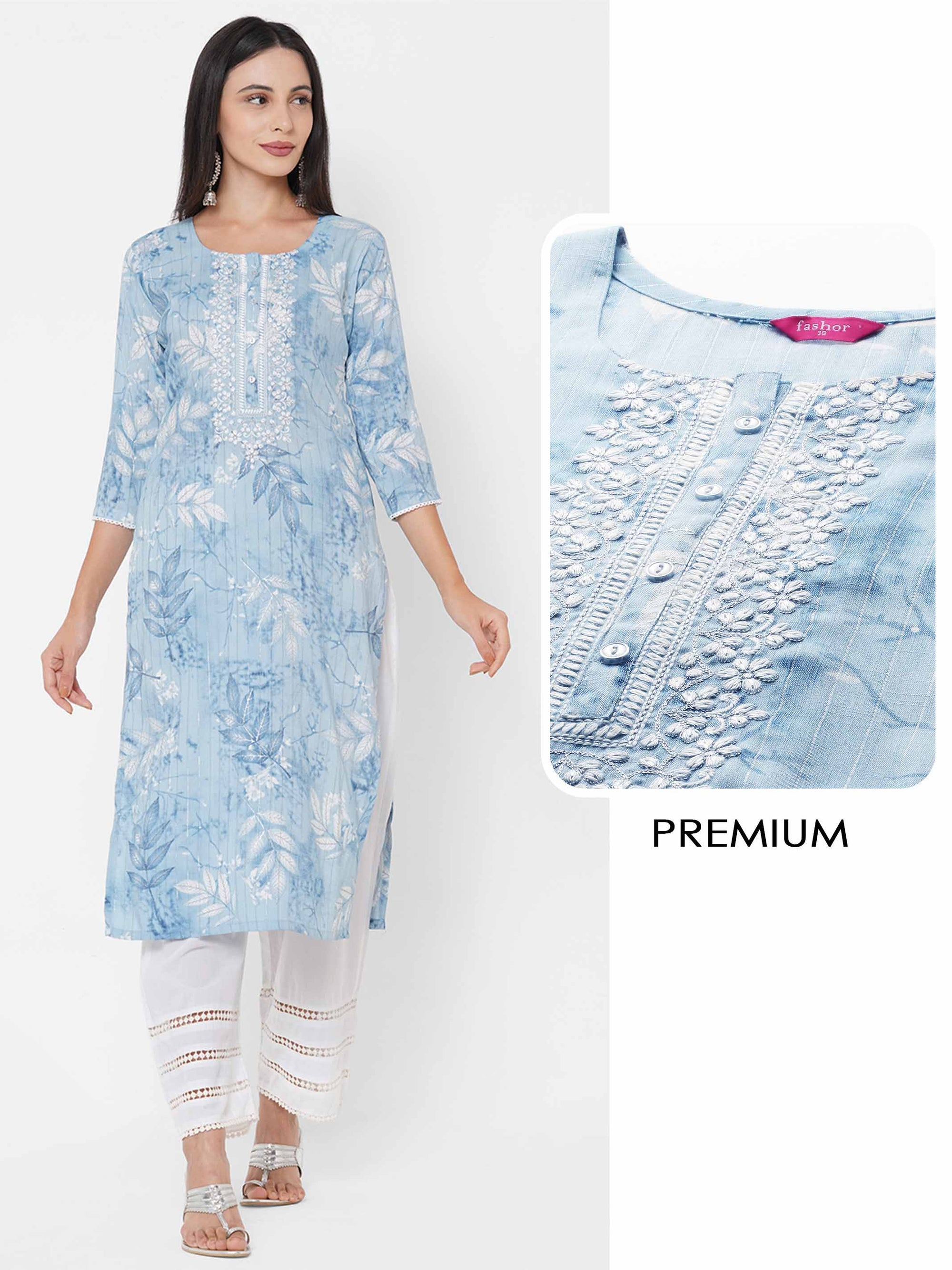 Leaf Printed & Floral Embroidered Lurex Kurta - Powder Blue