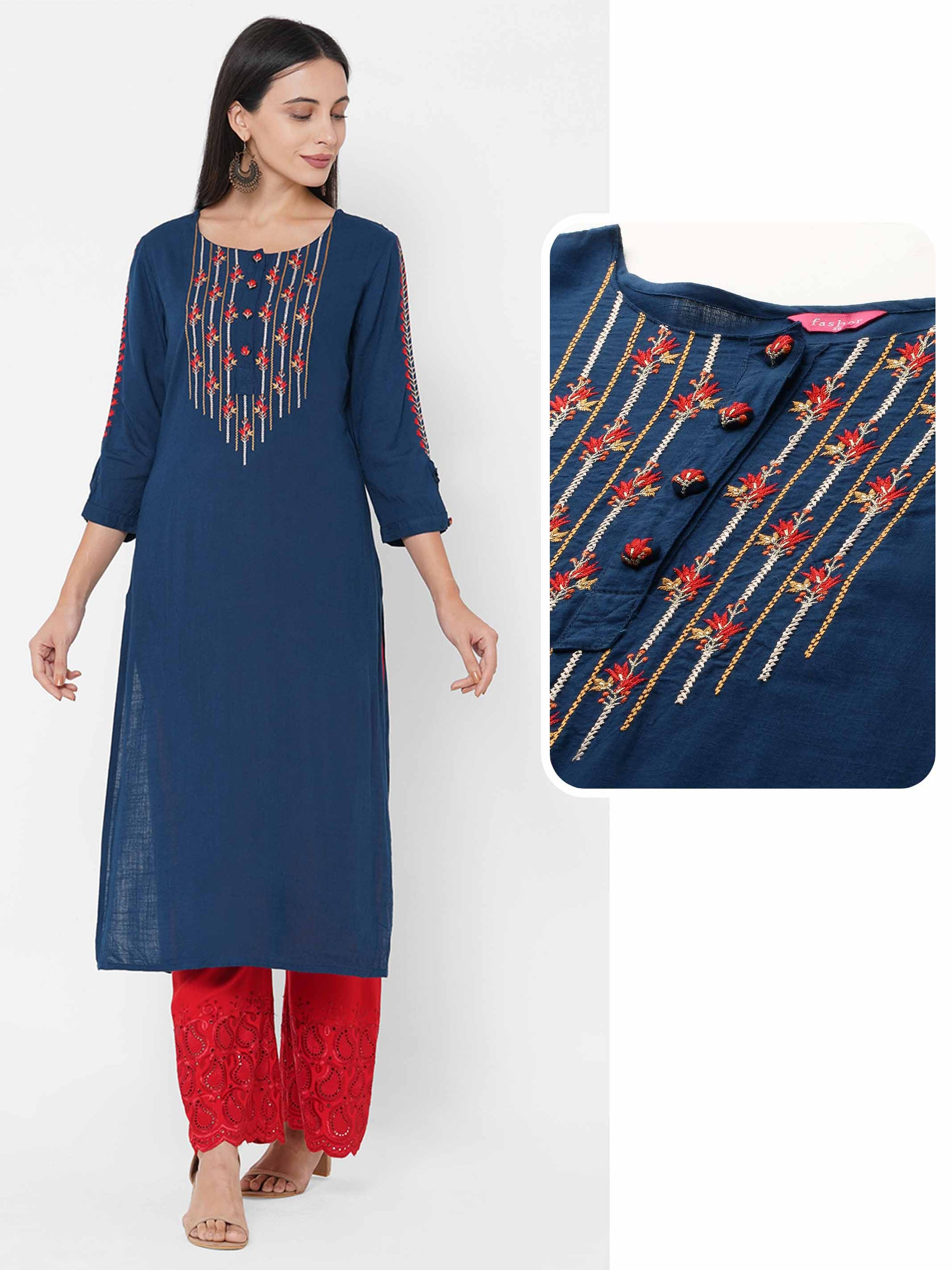 Floral Embroidered Straight Kurta - Teal