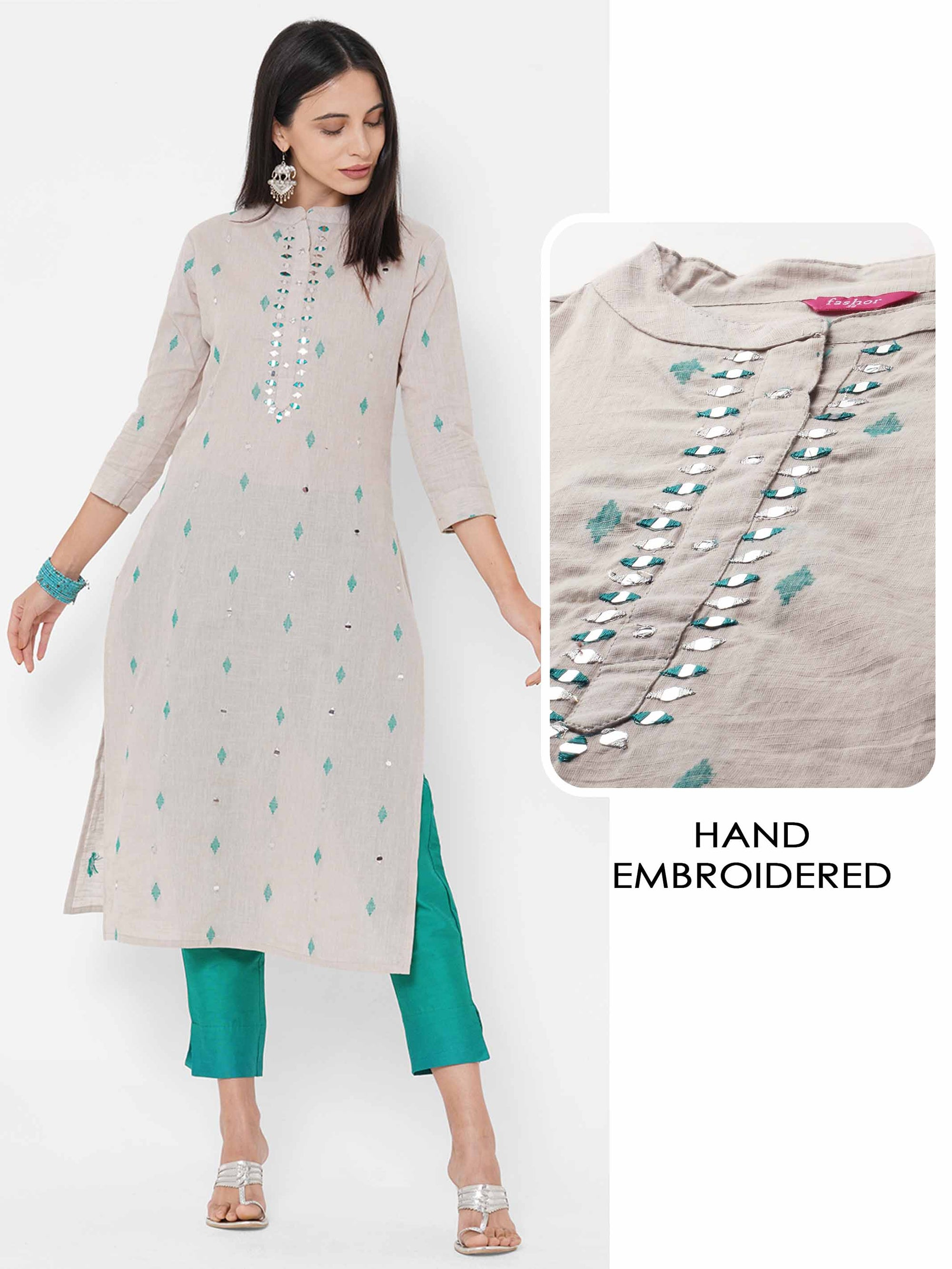 Ethnic Woven & Hand Embroidered Straight Kurta - Cream
