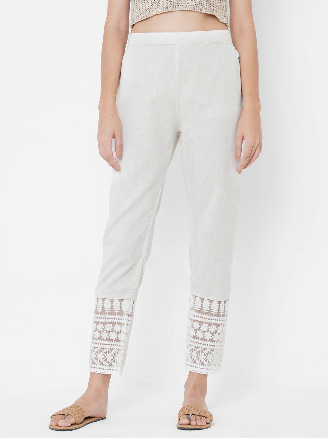 Floral Embroidered Solid Cotton Pant - Off White