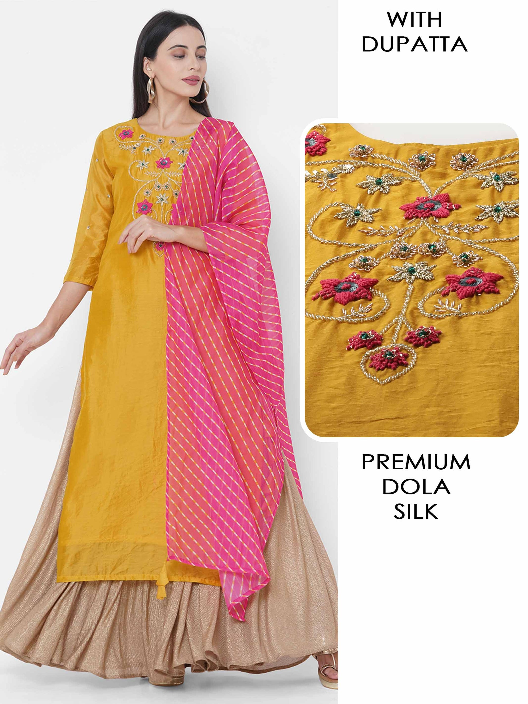 Floral Hand Embroidered Straight Kurta with Lehariya Printed Dupatta - Golden Yellow