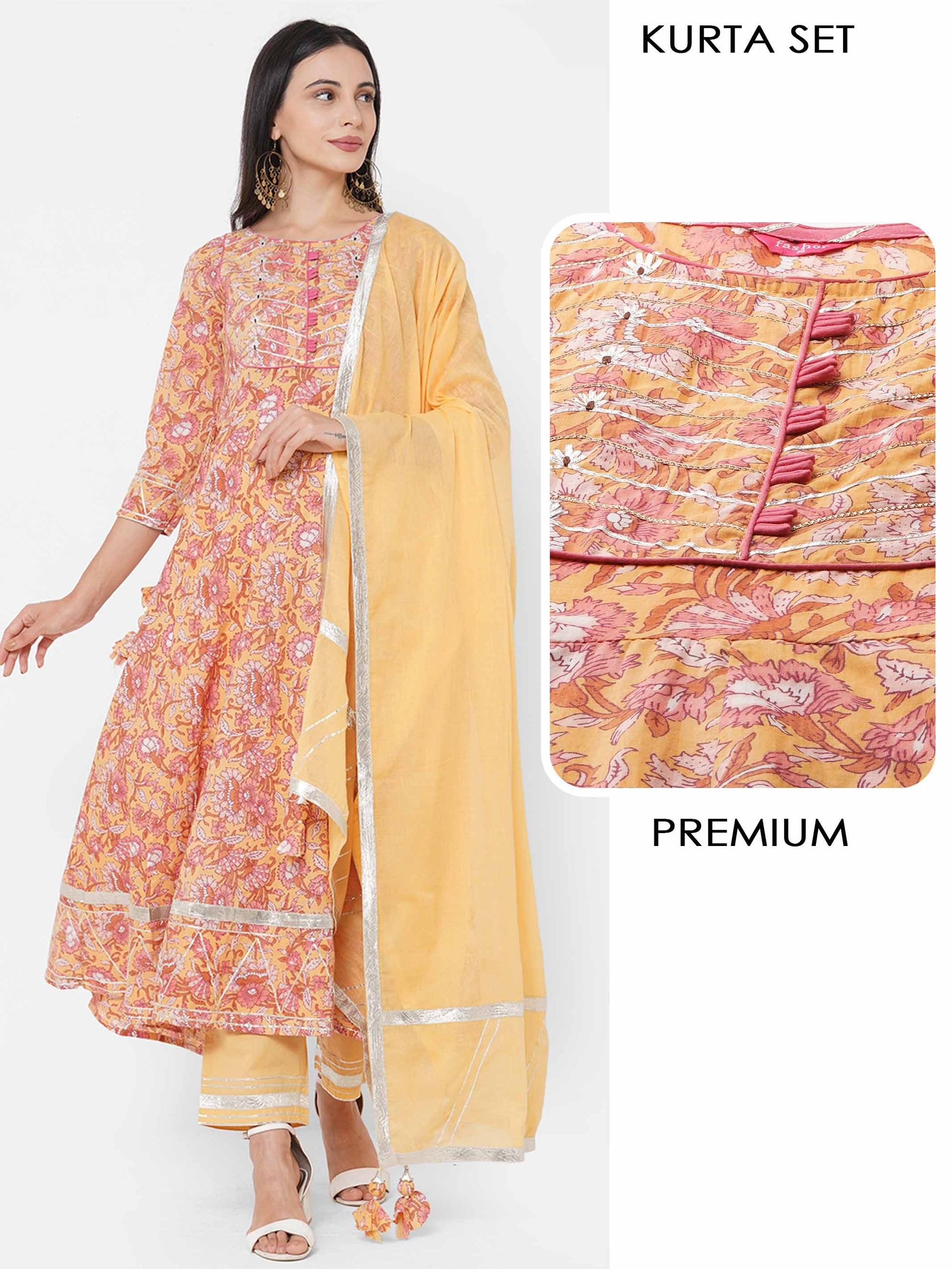 Floral Printed & Gota Embroidered Kurta with Solid Pant with Gota Embroidered Dupatta - Multi