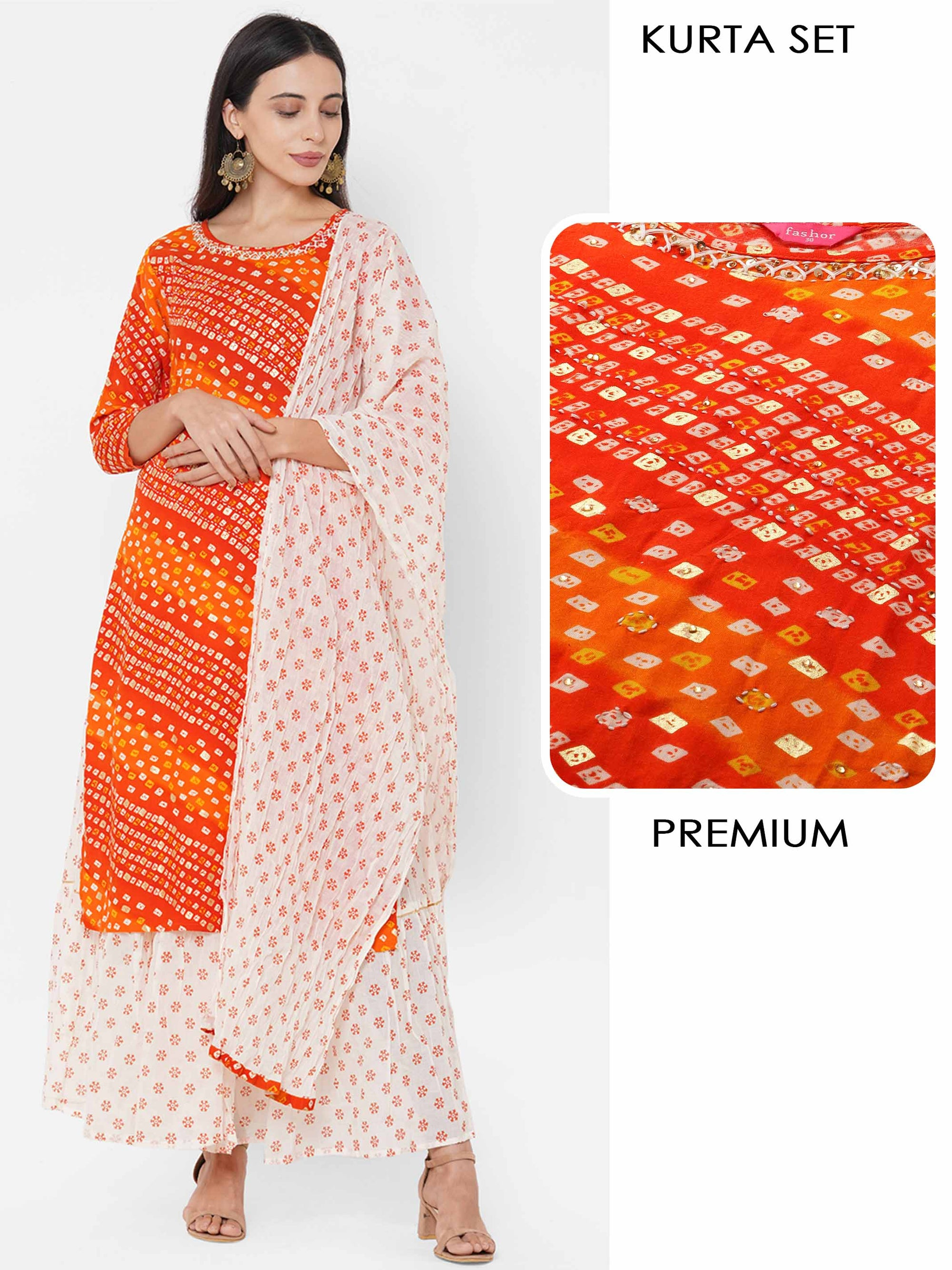 Bandhani Printed & Embroidered Kurta with Ethnic Printed Skirt & Ethnic Printed Dupatta - Tangerine