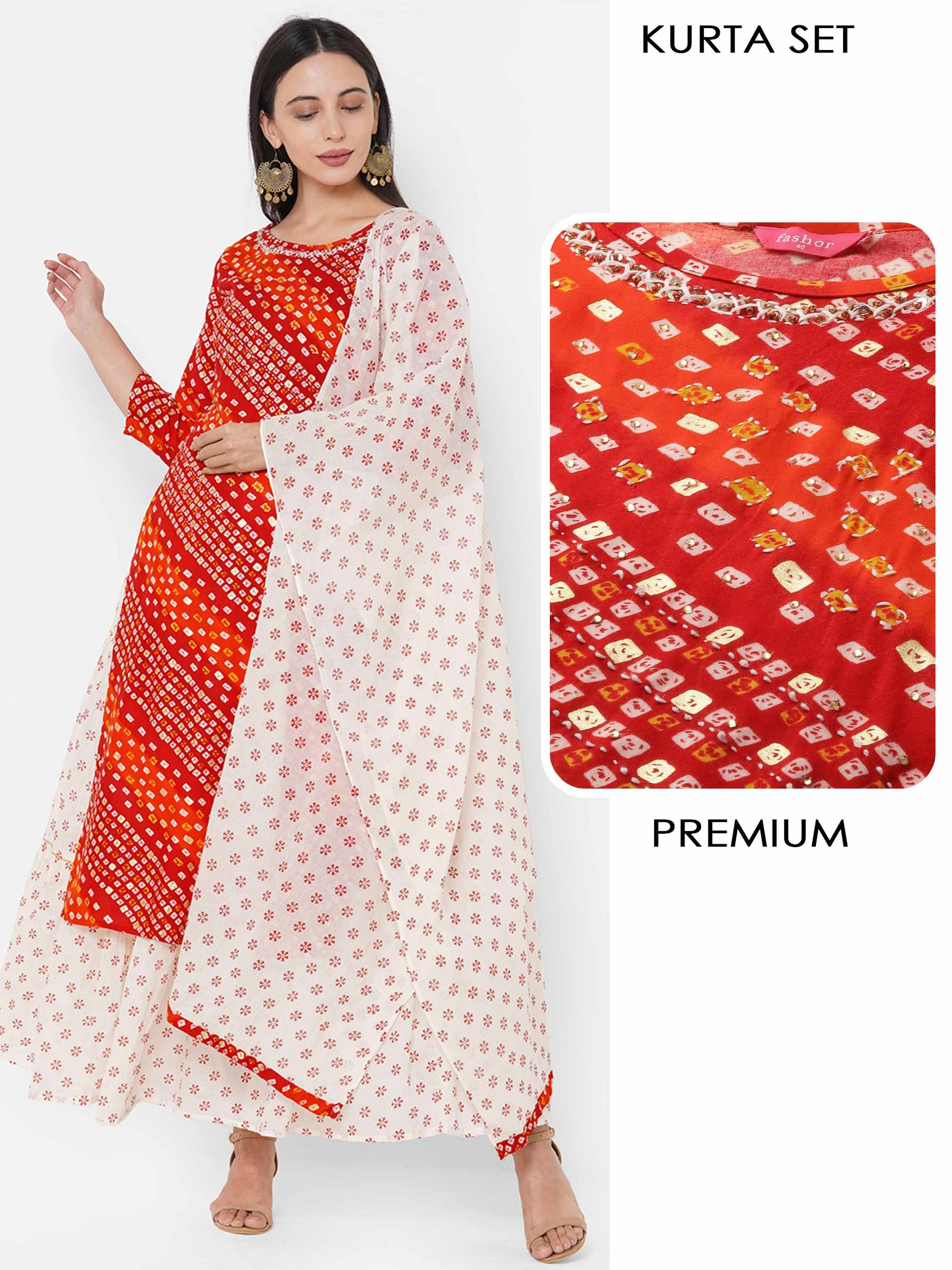 Bandhani Printed & Embroidered Kurta with Ethnic Printed Skirt & Ethnic Printed Dupatta - Red
