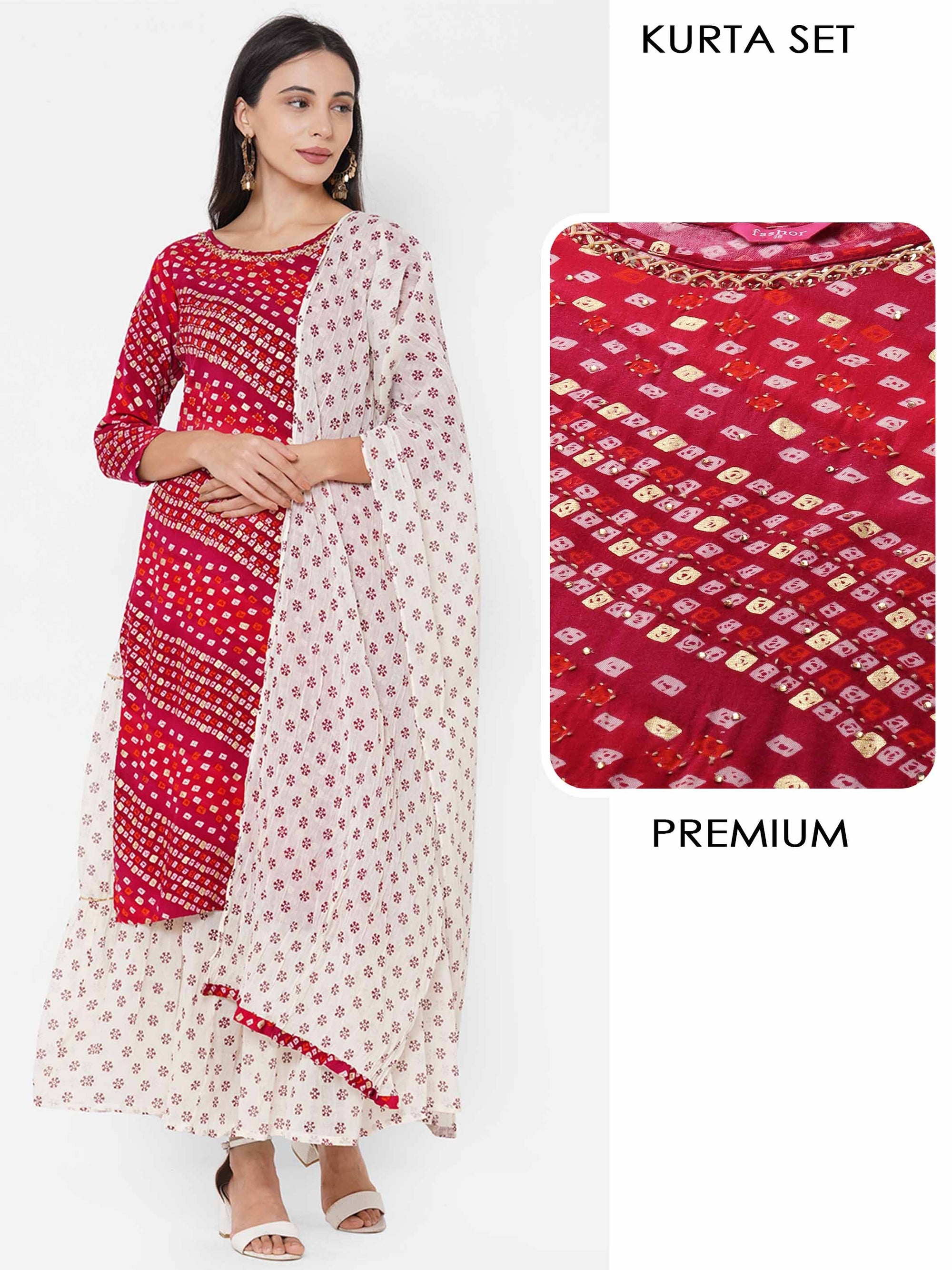 Bandhani Printed & Embroidered Kurta with Ethnic Printed Skirt & Ethnic Printed Dupatta - Carmine Red