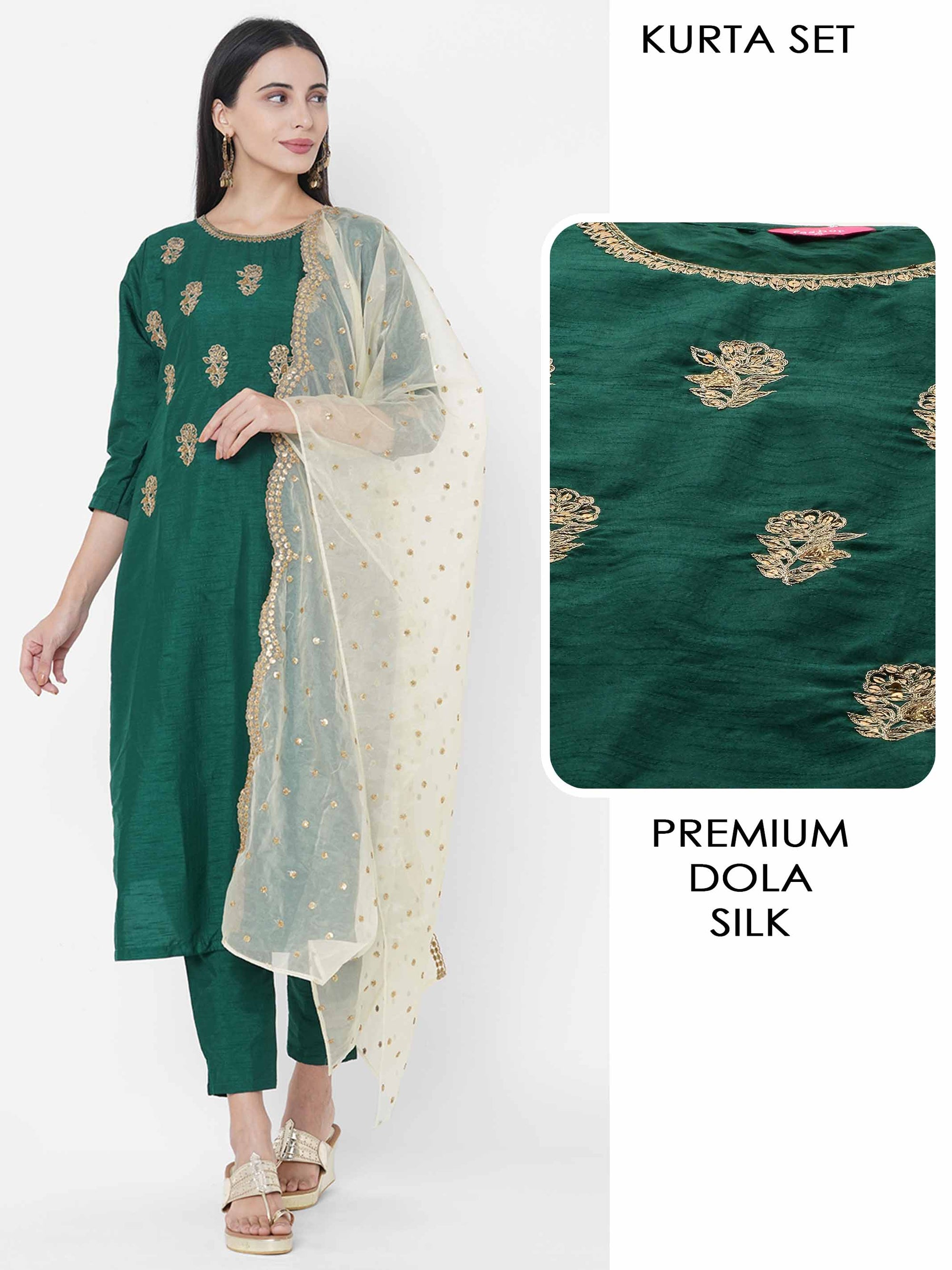 Floral Hand Embroidered Kurta with Solid Ankle Pant & Embroidered Scallop Dupatta - Bottle Green