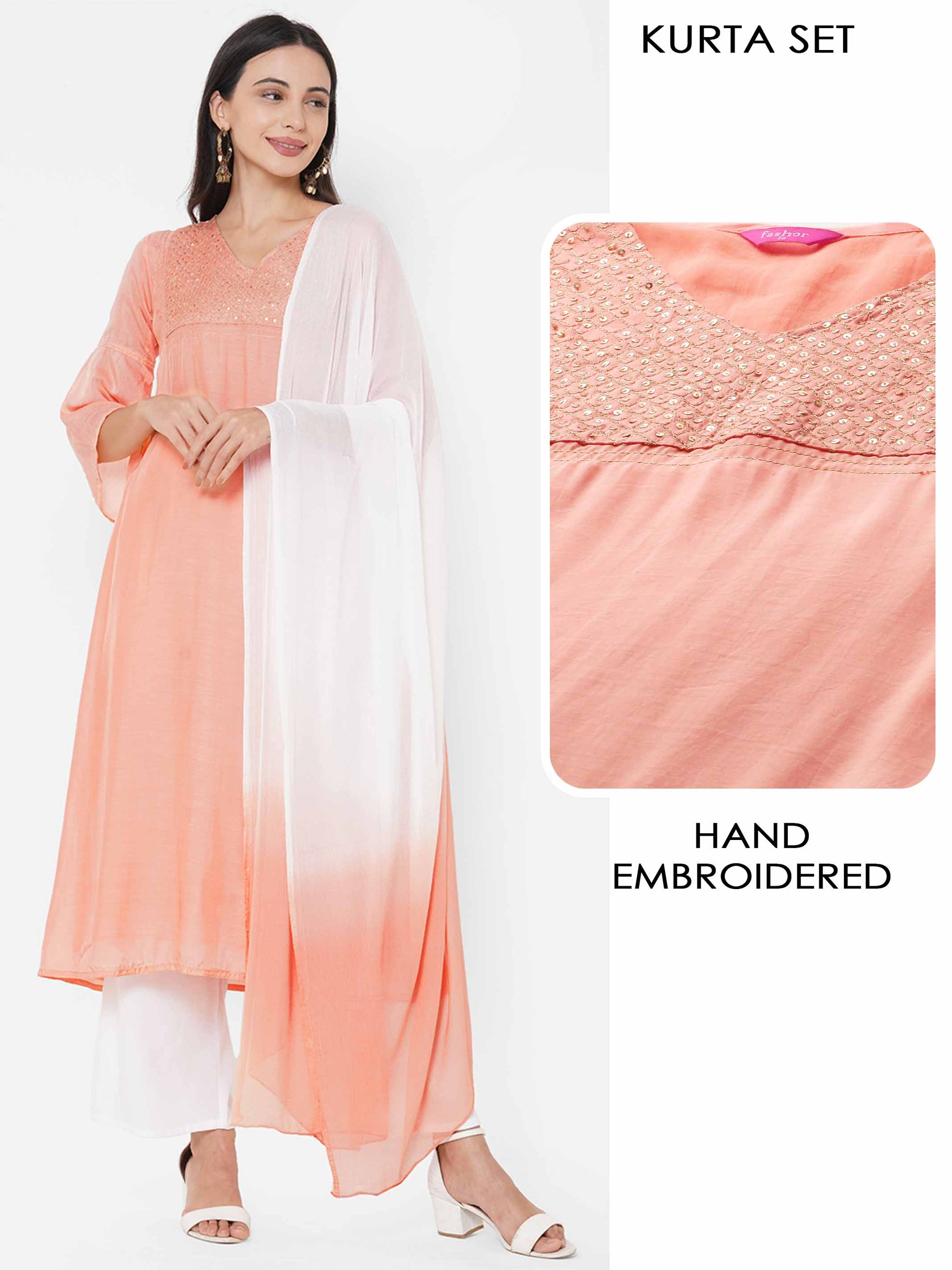 Sequin Hand Embroidered Kurta with Solid Palazzo with Ombre Dyed Dupatta - Peach