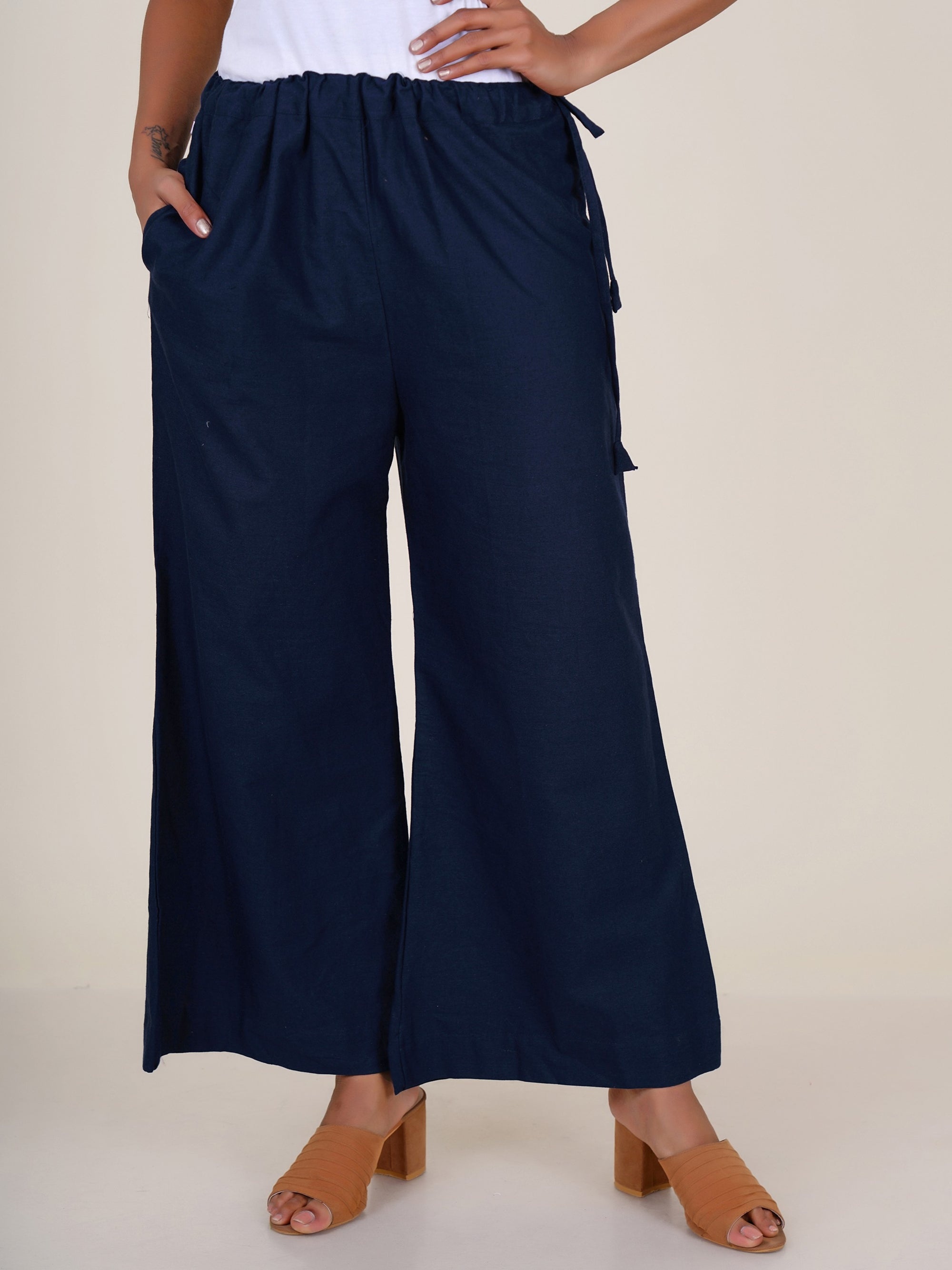 Cone Tassels Embellished Cotton Palazzo Pants - Navy Blue