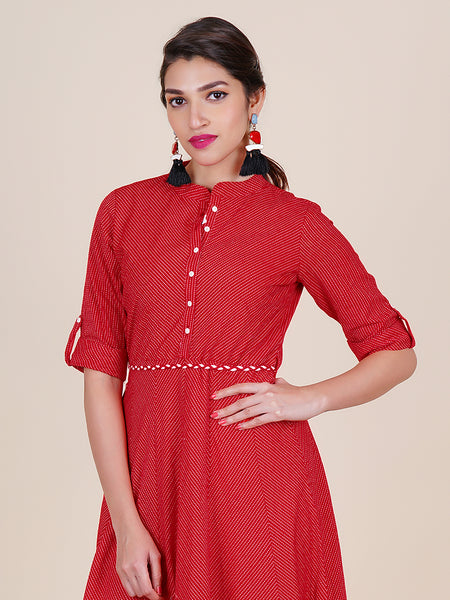 Resham Dori Braided Tasseled Belt With Woven Striped Cotton Kurti