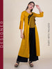 Resham Work Jacket With Crop Top & Palazzo Set - Ochre