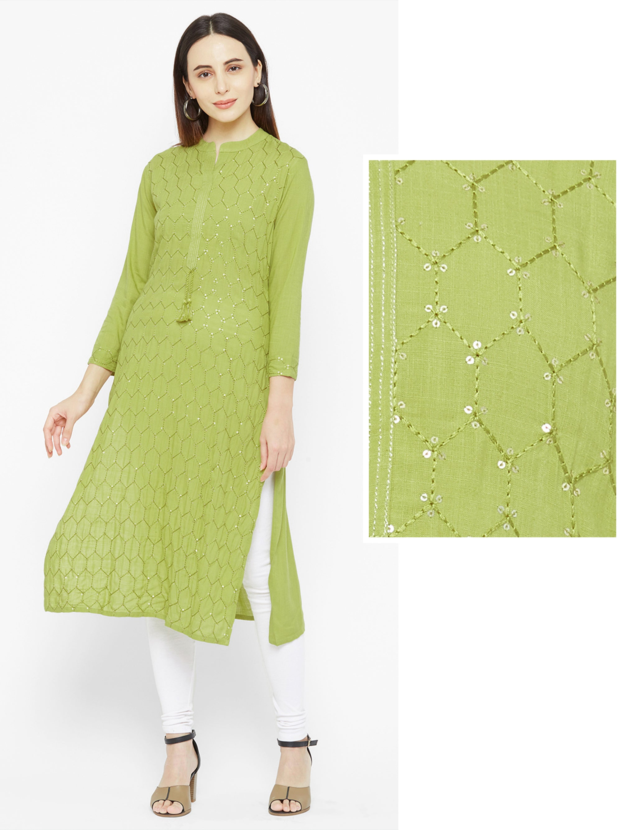 Hexagon Embroidered & Sequins Embellished Kurta