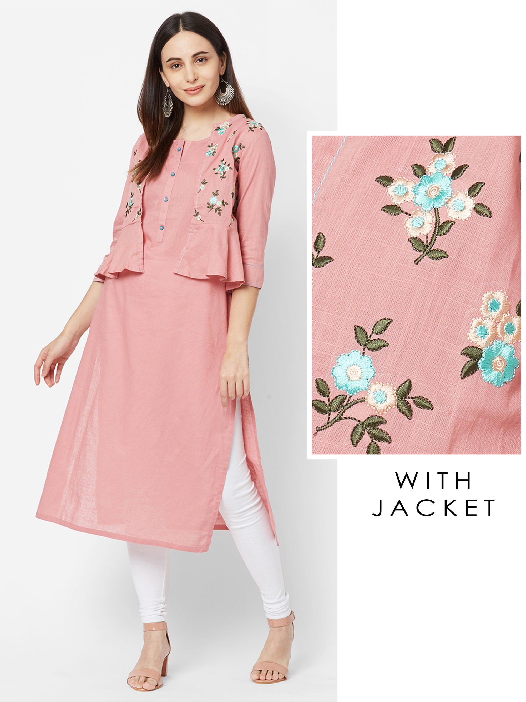Solid Kurta with Floral Embroidered Peplum Jacket – Mauve Pink