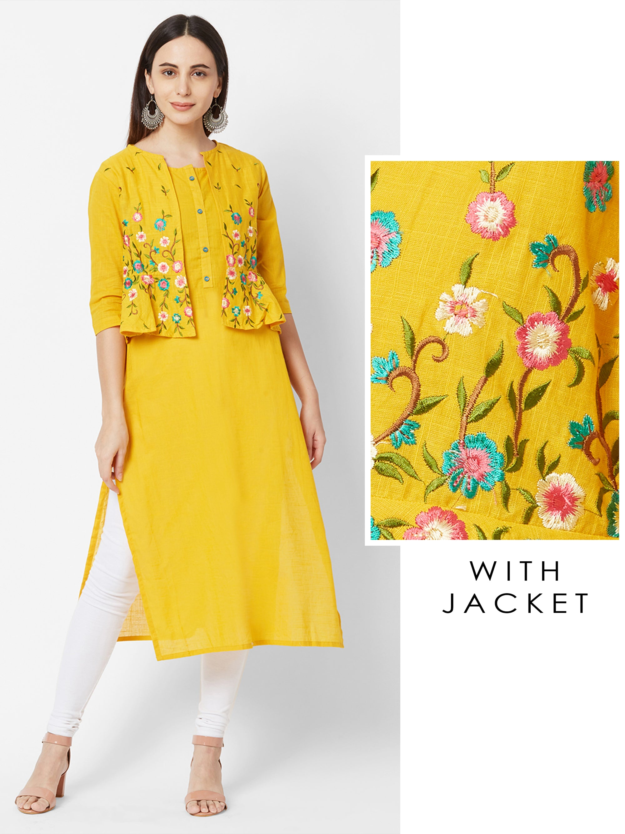 Solid Kurta with Floral Embroidered Jacket – Mustard