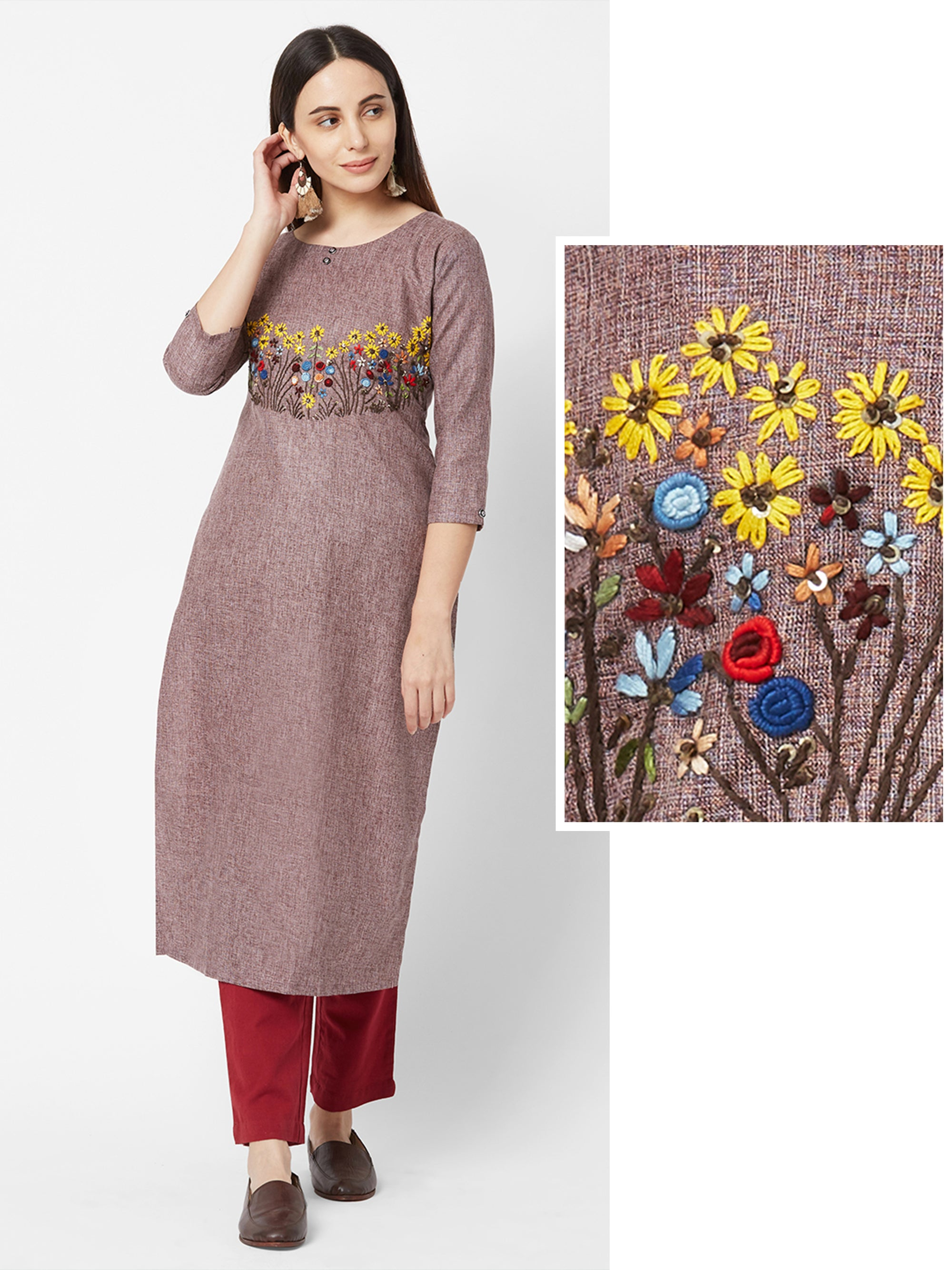 Bullion Knot Floral Embroidered Cotton Kurta