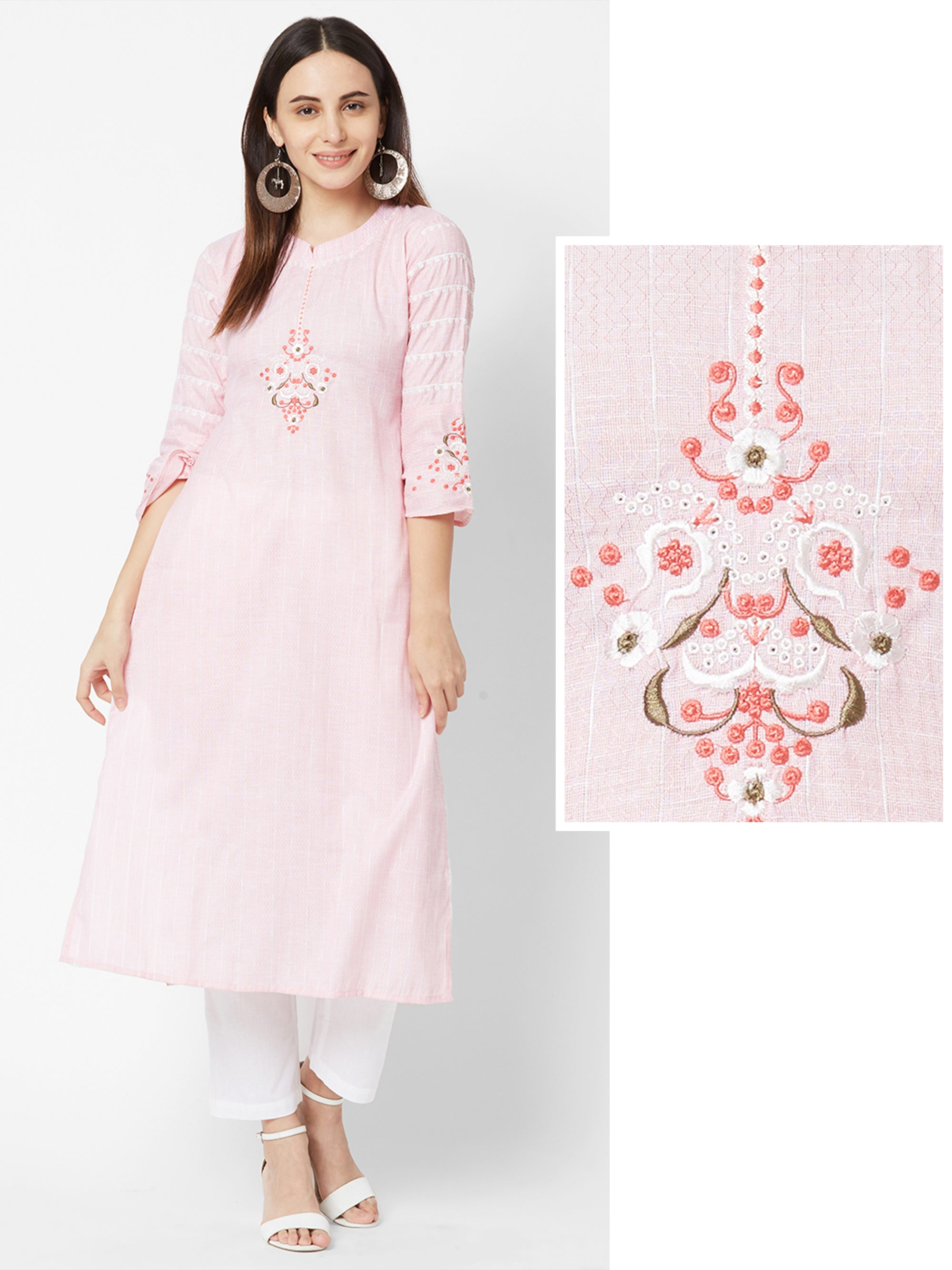 Floral Embroidered & Chevron Self Printed Kurta