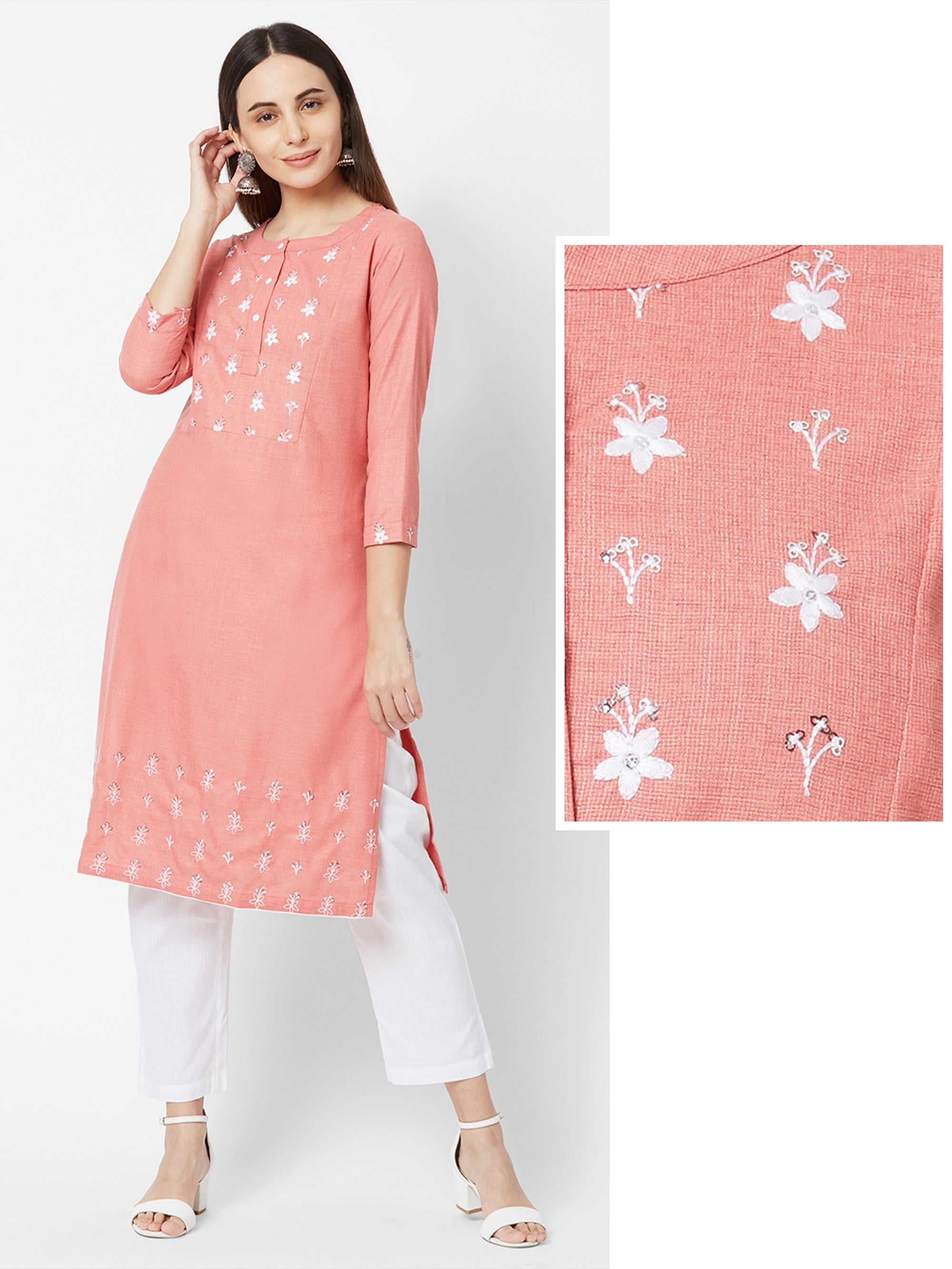 Floral Embroidered & Glen Checkered Kurta