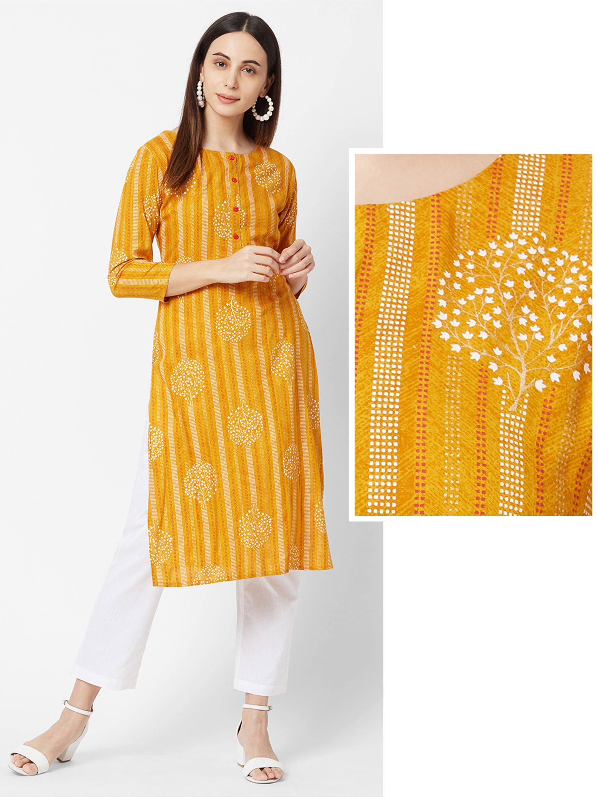 Chalk Striped & Floral Printed Kurta – Mustard