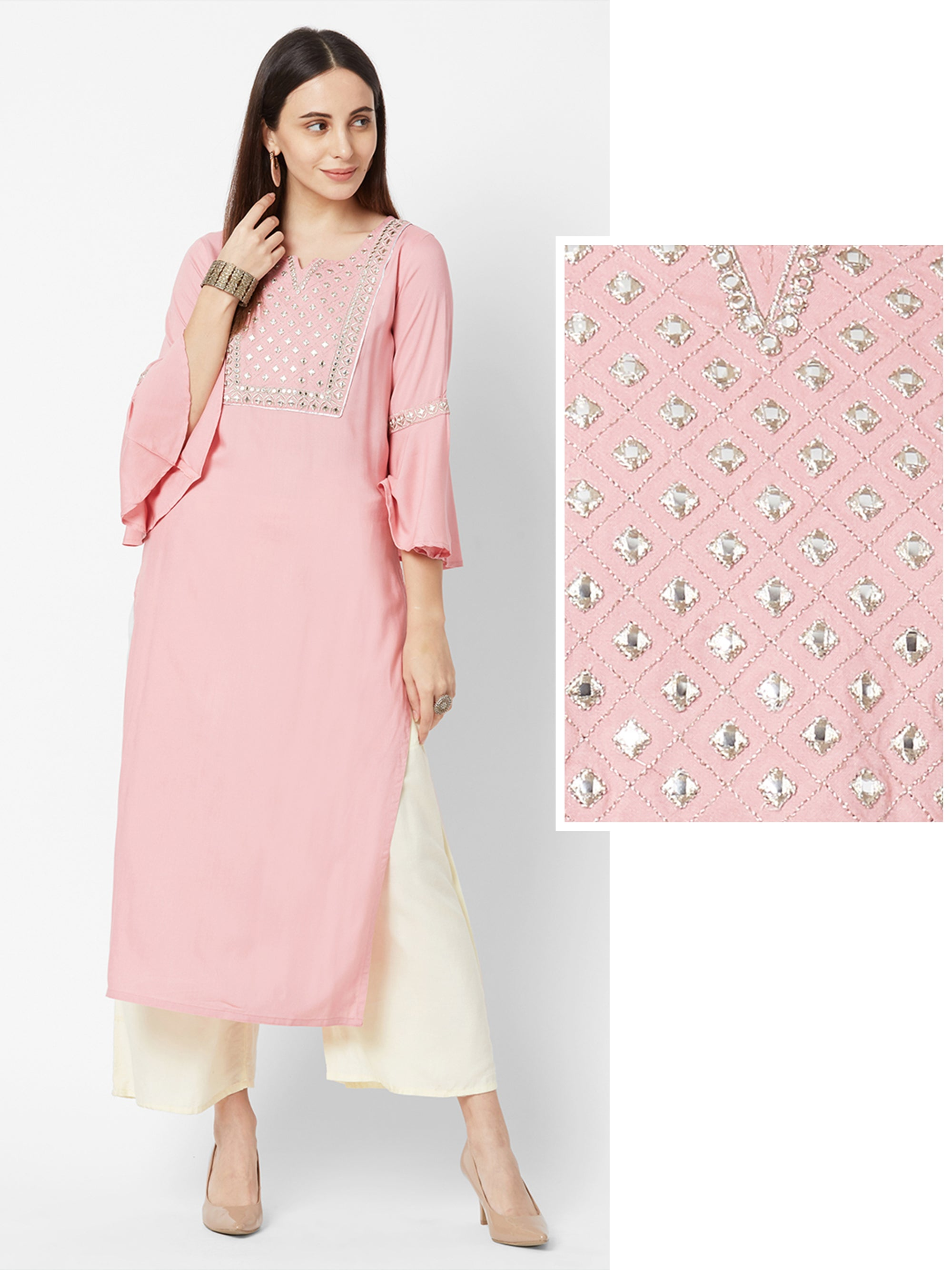 Foil mirror worked Zari embroidered Kurta